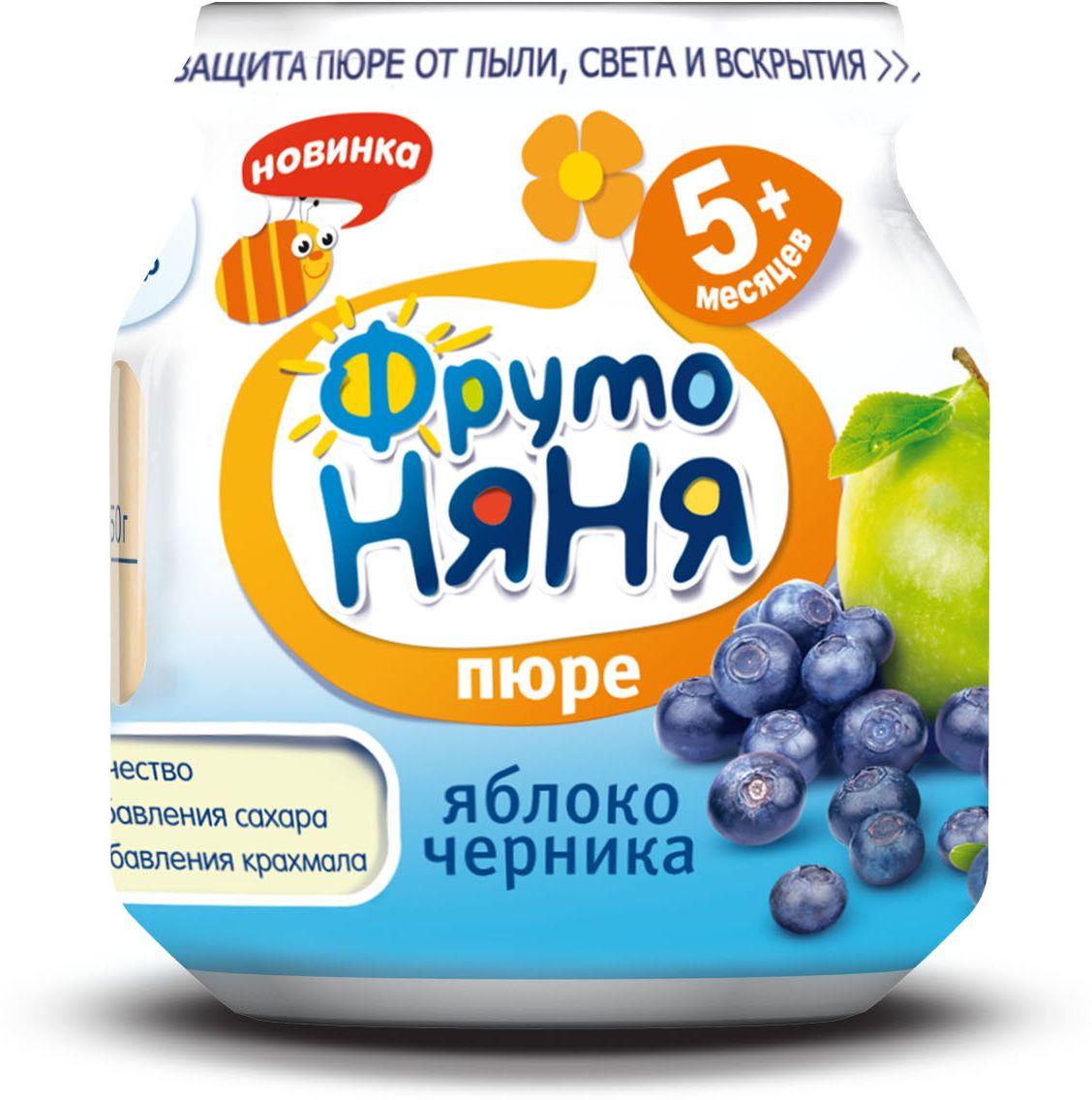 ФрутоНяня пюре из яблок и черники с 5 месяцев, 100 гP071171100% качествобез добавления сахарабез добавления крахмала