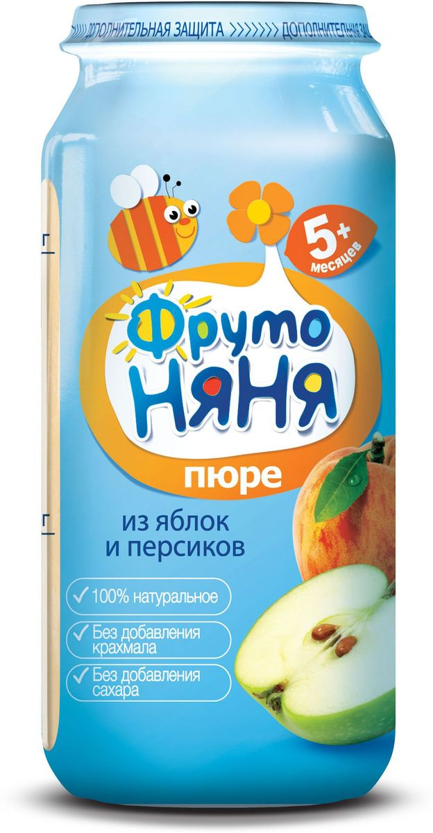 ФрутоНяня пюре из яблок и персиков с 5 месяцев, 250 гP072505100% натуральное, без крахмала, без сахара