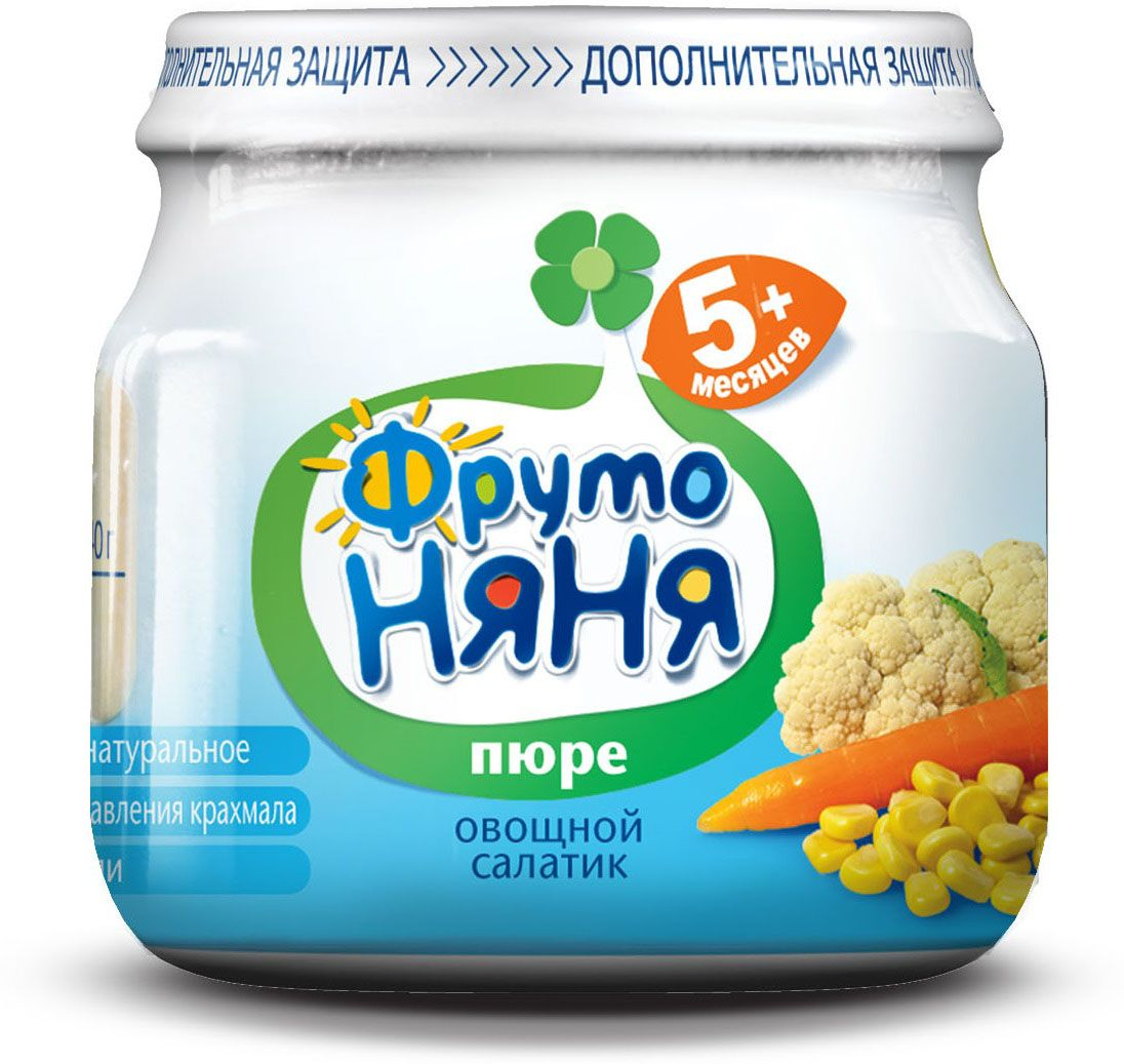 ФрутоНяня пюре из цветной капусты, кукурузы и моркови, салатик с 5 месяцев, 80 гP078011расширяем рационв составе только овощи и водабез консервантов, красителей, ароматизаторов, крахмала, соли