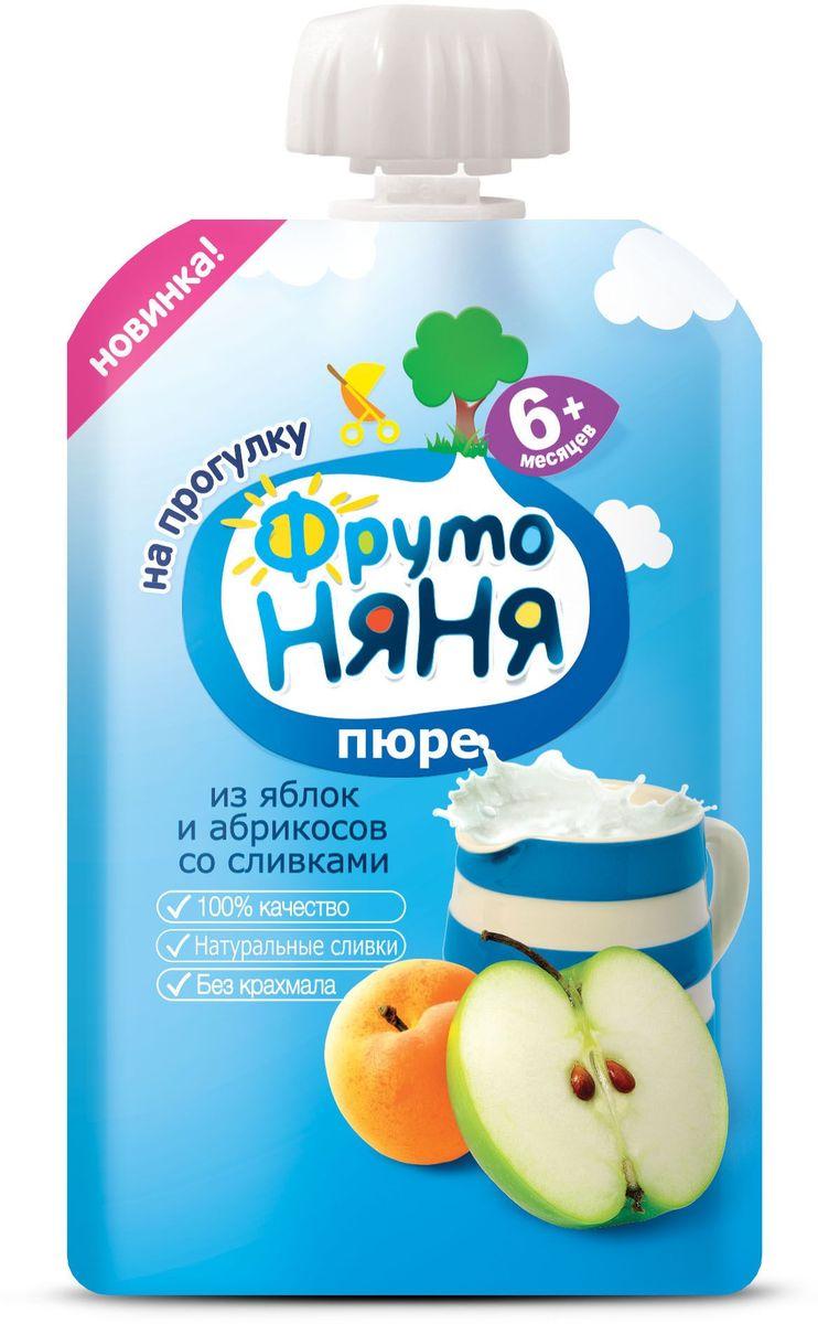 ФрутоНяня пюре из яблок и абрикосов со сливками с 6 месяцев, 90 гP079006100% качество, отборные сливки, без крахмала