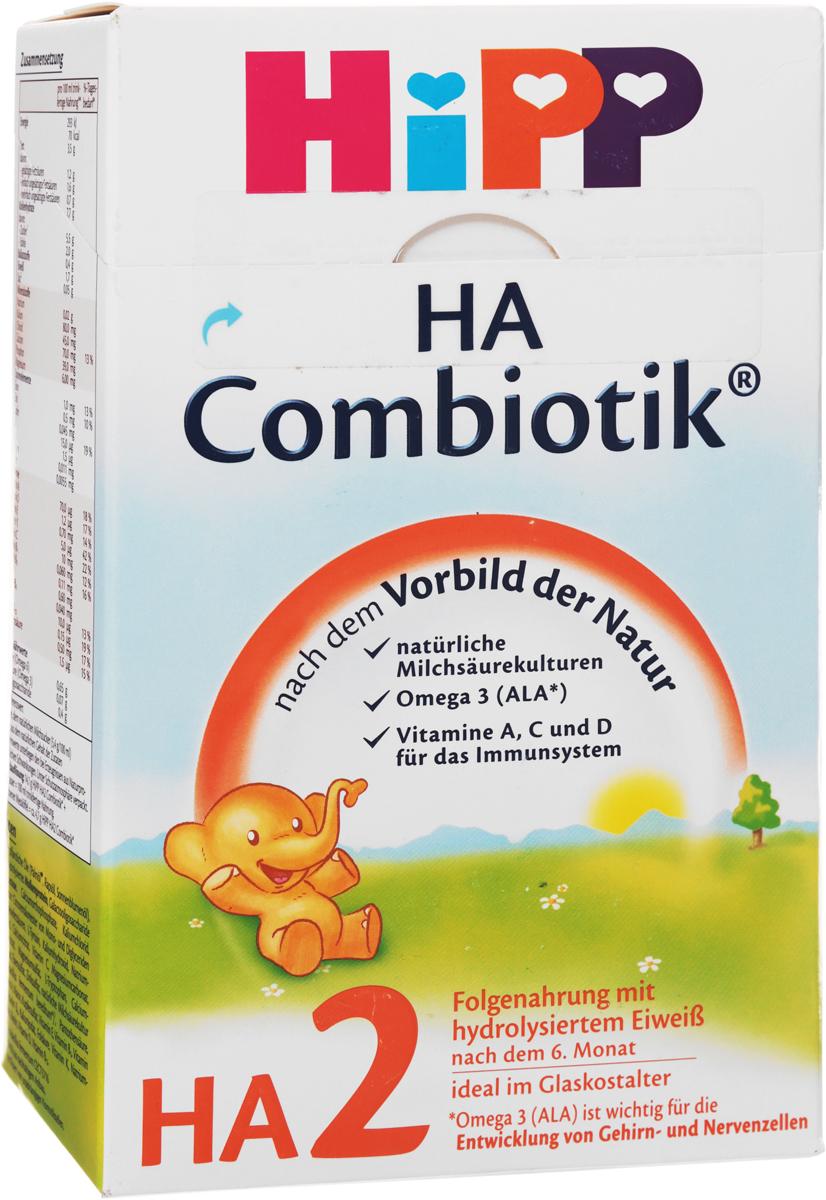 Hipp HA2 Сombiotic смесь молочная, с 6 месяцев, 500 г4062300243088Заменитель Hipp HA2 - детская сухая гипоаллергенная молочная смесь с пробиотиками и пребиотиками Combiotic HA2. Предназначена для кормления младенцев, склонных к аллергии. Может использоваться в качестве заменителя грудного молока с 6 месяцев. Смесь относится к новому поколению гипоаллергенного питания, которое учитывает все специфические потребности детей, предрасположенных к аллергии.Смесь содержит низкоаллергенный частично расщепленный белок. Менее расщепленный белок по сравнению с Combiotic HA1 постепенно приучает ребенка к нормальному восприятию обычного молочного белка и, в то же время, снижает риск возникновения аллергии.Обогащен пробиотиками (живыми лактобактериями), формирующими нормальную микрофлору кишечника и улучшающими пищеварение младенца.Содержит пребиотики, которые усиливают развитие пробиотиков и собственной микрофлоры кишечника.В состав включены незаменимые жирные кислоты Омега-3 и Омега-6, которые необходимы для развития зрения и мозга ребенка.Уважаемые клиенты! Обращаем ваше внимание, что полный перечень состава продукта представлен на дополнительном изображении.