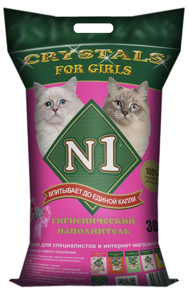 Наполнитель для кошачьего туалета №1 Crystals. For Girls, силикагелевый, 30 л65897Новый наполнитель Hi-End класса из серии N1, создан специально для представительниц прекрасного пола. Состоящий из уникальных силикагелевых кристаллов, N1 For Girls является абсолютно натуральным, безопасным для кошки и окружающей среды. Благодаря великолепным свойствам силикагеля впитывать влагу и полностью блокировать неприятные запахи, позволяют максимально заботиться о чистоте, комфорте и гигиене кошки. Гранулы тщательно отсортированы, не прилипают к шерсти. Необычная форма кристаллов препятствует рассыпанию наполнителя, что обеспечивает чистоту и порядок в доме. Благодаря добавлению нежно-розовых кристаллов, наполнитель стал более привлекателен для особ женского пола.