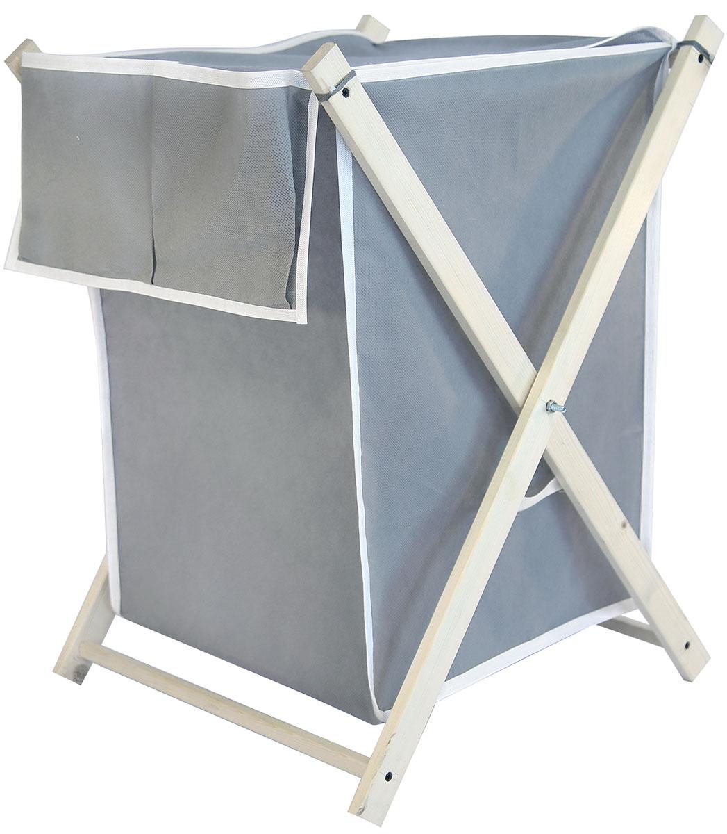 Корзина для белья Ева, складная, цвет: серый, 43 х 50 х 63 смЕ492Складная корзина для белья с карманами – удобная, многофункциональная и незаменимая вещь в ванной комнате. В отличие от пластиковой корзины не выделяет вредных веществ при нагревании. Корзина выполнена из натуральных, экологичных материалов. Хорошая проницаемость ткани для воздуха не позволит повышенной влажности испортить белье, пока оно ожидает в этой корзине своей очереди на стирку. Она совмещает в себе функции вместительного резервуара для белья и дизайнерского аксессуара. Легкость и прочность конструкции гарантируют долговечность изделия и простоту в использовании. В сложенном положении корзина не займет много места, благодаря удобной конструкции вы сможете легко перевозить и хранить корзину.Размер каркаса: 64,5 х 48 х 48 см.Размер корзины - 43 х 50 х 63 см.