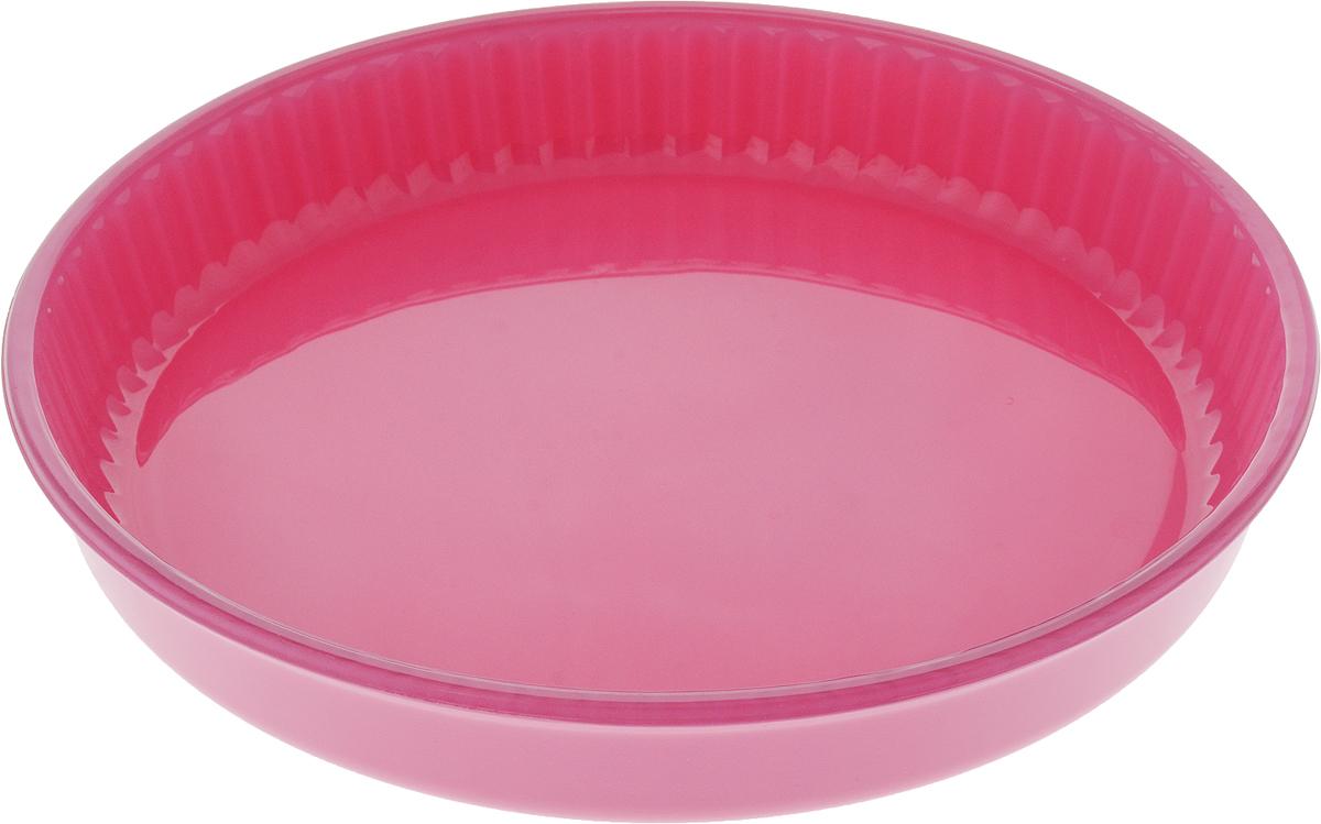 Форма для запекания Pasabahce, цвет: фуксия, диаметр 31,5 см68/5/3Круглая форма Pasabahce выполнена из жаропрочного стекла, что позволяет использовать ее для запекания различных блюд. Форма не вступает в реакцию с готовящейся пищей, не выделяет никаких вредных веществ и не подвергается воздействию кислот и солей. Из-за невысокой теплопроводности пища в стеклянной посуде гораздо медленнее остывает. Поэтому в такой форме вы можете как приготовить пищу, так и изящно подать ее к столу, не меняя посуды. Стеклянная посуда очень удобна для приготовления и подачи самых разнообразных блюд.Форма дополнена рельефом с внутренней стороны. Посуду можно использовать в СВЧ и духовом шкафу при температуре до +300°С, ставить в морозилку при температуре -40°С, а также мыть в посудомоечной машине. Диаметр формы: 31,5 см. Высота стенки: 5 см.