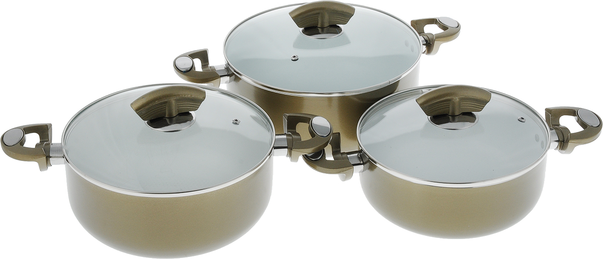 Набор кастрюль Bohmann, с крышками, с керамическим покрытием, 6 предметов. 6003BHWCR68/5/4Набор Bohmann состоит из трех кастрюль с крышками. Кастрюли выполнены из высококачественного литого алюминия с внутренним керамическим покрытием, которое обладает высокой прочностью. Кроме того, с таким покрытием пища не пригорает и не прилипает к стенкам. Готовить можно с минимальным количеством масла. Кастрюли быстро разогреваются, распределяя тепло по всей поверхности, что позволяет готовить в энергосберегающем режиме, значительно сокращая время, проведенное у плиты. Крышки выполнены из термостойкого стекла с отверстием для выпуска пара и ободком из металла. Эргономичный дизайн и функциональность набора Bohmann позволят вам наслаждаться процессом приготовления любимых блюд. Изделия подходят для использования на всех типах плит, включая индукционные. Можно мыть в посудомоечной машине.Объем кастрюль: 3 л; 3,8 л; 5,3 л.Диаметр кастрюль (по верхнему краю): 22 см; 24 см; 26 см.Высота кастрюль: 9 см; 9,5 см; 11 см.Диаметр дна кастрюль: 16 см; 18 см; 20 см.