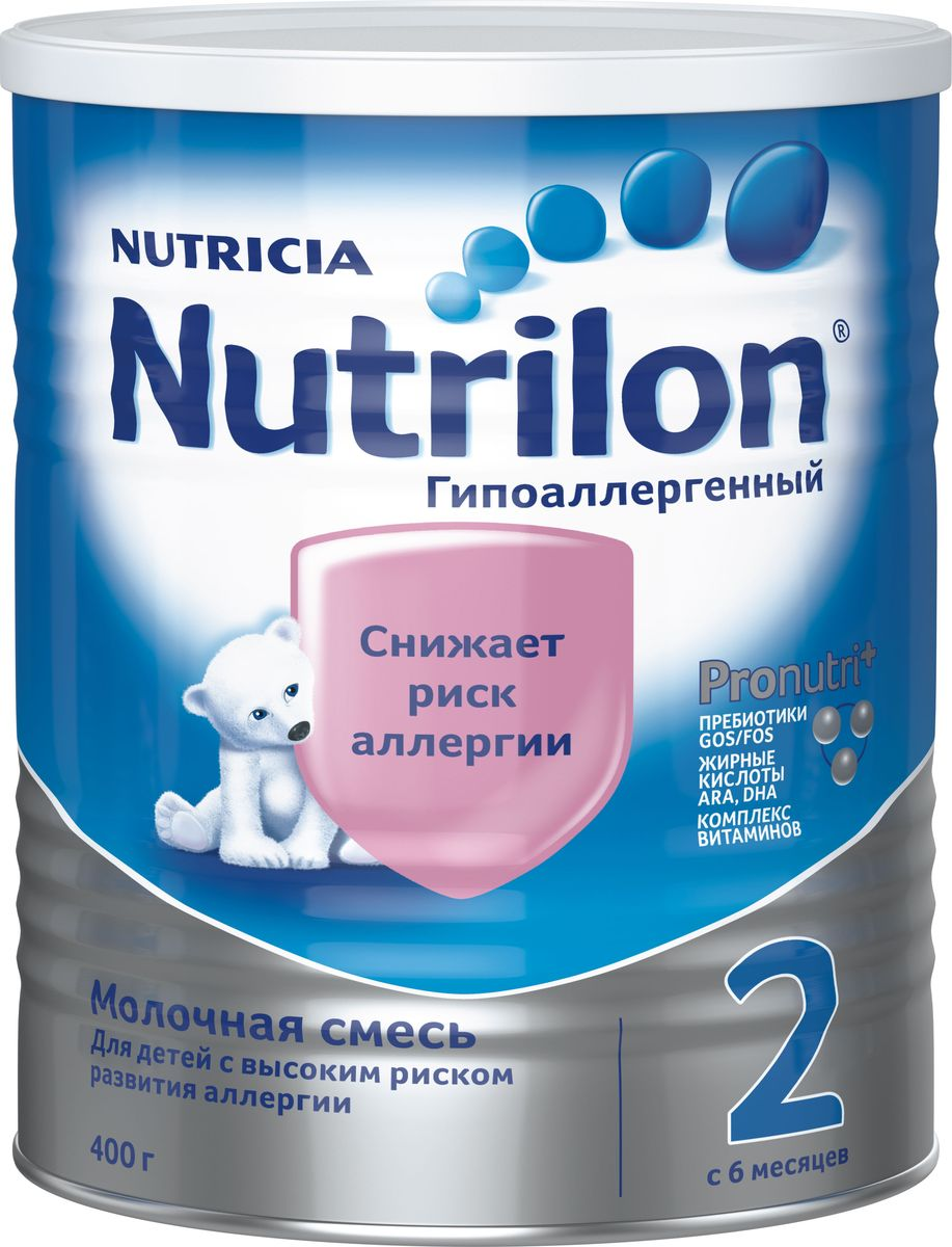 Nutrilon ГА 2 специальная молочная смесь, гипоаллергенная PronutriPlus, с 6 месяцев, 400 г0120710Молочная смесь Nutrilon (Нутрилон) Гипоаллергенный 2 400 г Молочная смесьNutrilon Гипоаллергенный 2 специально разработана для снижения риска возникновения пищевой аллергии, так как частично содержит гидролизованный белок. Содержит комплекс Pronutriplus способствующий развитию иммунитета и интеллекта ребенка. Комплекс Pronutriplus включает Особые жирные кислоты ARA, DHA для развития интеллекта, пребиотики Gos/Fos, которые помогают развитию здоровой микрофлоры кишечника, поддержанию иммунитета, помогая снижать риск возникновения аллергии и инфекций, и комплекс витаминов. Благодаря уникальному комплексу ингредиентов PronutriPlus, Nutrilon Гипоаллергенный 2 способствует развитию иммунитета и интеллекта, помогая Вашему ребенку развиваться.