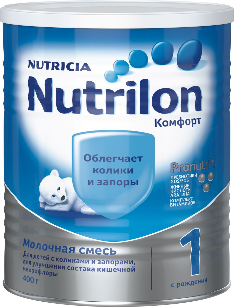 Nutrilon Комфорт 1 специальная молочная смесь PronutriPlus, с рождения, 400 г0120710Нередко колики и запоры мешают правильному развитию, отвлекая ребенка от активного познания мира, и в этом случае он нуждается в особом питании. Nutrilon Комфорт 1 разработан специально для нормализации пищеварения, обеспечивая 5 слагаемых комфорта: профилактику запоров, уменьшение колик, нормализацию микрофлоры, легкое переваривание, предотвращение заглатывания воздуха и срыгивания. Молочная смесь Nutrilon Комфорт - полноценная сухая молочная смесь, которая содержит частично расщеплённый (гидролизованный) белок и сниженную концентрацию лактозы (молочного сахара), что позволяет смеси легче усваиваться в нежном кишечнике ребенка и не вызывать колик. В качестве основного источника жира в смеси используются жиры растительного происхождения, которые легко перевариваются и не вызывают запоров. В этой смеси содержатся специальные ингредиенты, увеличивающие вязкость, что снижает вероятность возникновения срыгивания. Благодаря уникальному комплексу ингредиентов PronutriPlus, Nutrilon Комфорт 1 способствует развитию иммунитета и интеллекта, помогая вашему ребенку развиваться.
