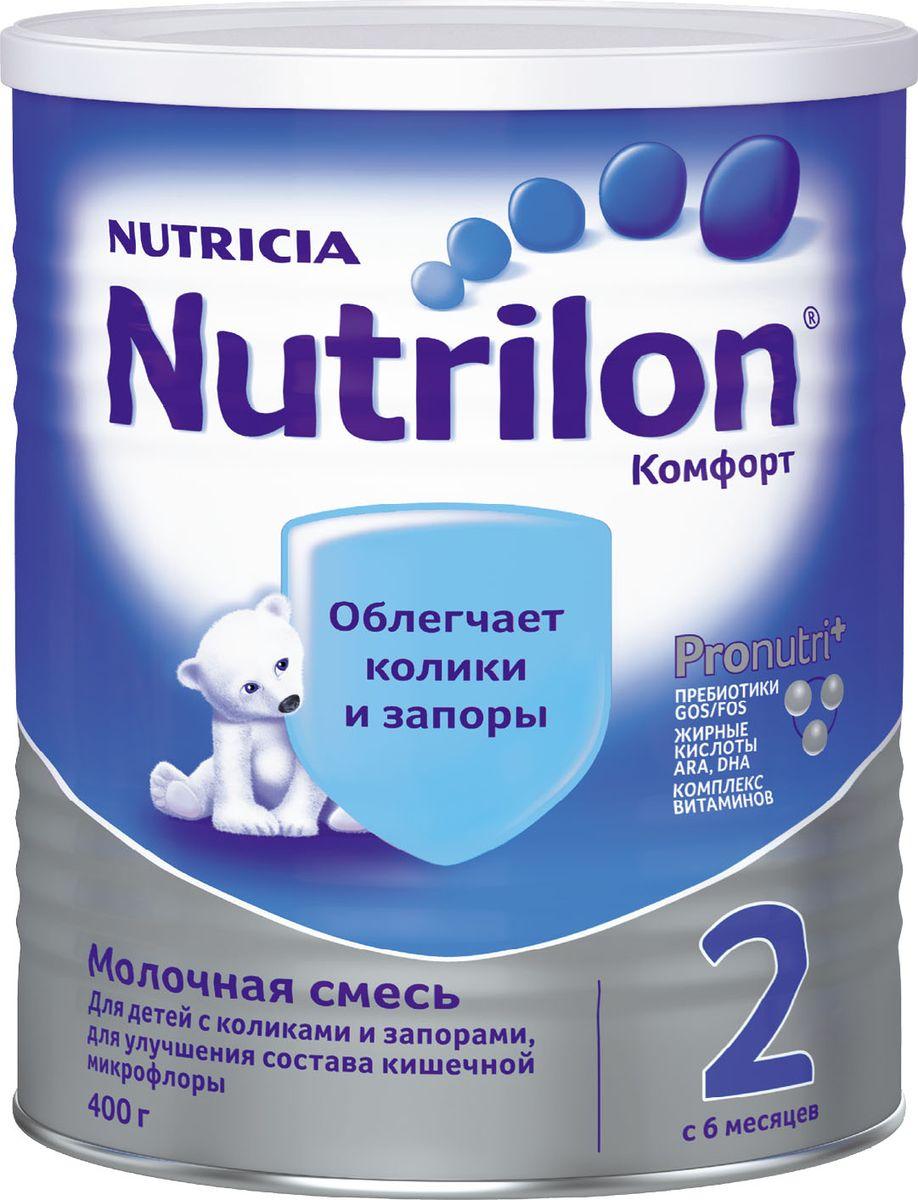 Nutrilon Комфорт 2 специальная молочная смесь PronutriPlus, с 6 месяцев, 400 г1093Молочная смесь Nutrilon (Нутрилон) Комфорт 2 с 6 месяцев 400 г Нередко колики и запоры мешают правильному развитию, отвлекая ребенка от активного познания мира, и в этом случае он нуждается в особом питании. Nutrilon Комфорт 2 разработан специально для нормализации пищеварения, обеспечивая 5 слагаемых комфорта: профилактику запоров, уменьшение колик, нормализацию микрофлоры, легкое переваривание, предотвращение заглатывания воздуха и срыгивания. Молочная смесь Nutrilon Комфорт - полноценная сухая молочная смесь, которая содержит частично расщеплённый (гидролизованный) белок и сниженную концентрацию лактозы (молочного сахара), что позволяет смеси легче усваиваться в нежном кишечнике ребенка и не вызывать колик. В качестве основного источника жира в смеси используются жиры растительного происхождения, которые легко перевариваются и не вызывают запоров. В этой смеси содержатся специальные ингредиенты, увеличивающие вязкость, что снижает вероятность возникновения срыгивания. Благодаря уникальному комплексу ингредиентов PronutriPlus, Nutrilon Комфорт 2 способствует развитию иммунитета и интеллекта, помогая вашему ребенку развиваться.
