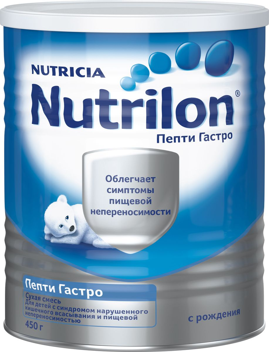 Nutrilon Пепти Гастро специальная молочная смесь, с рождения, 450 г0120710Сухая смесь Nutrilon (Нутрилон) Пепти Гастро с рождения 450 г Сухая смесь Nutrilon Пепти Гастро разработан специально для детей с синдромом нарушенного всасывания. Содержит глубоко гидролизованный белок, имеющий высокую усвояемость, легко всасываемые жиры и нуклеотиды для хорошего пищеварения и удовлетворяет высокие энергетические потребности растущего ребенка. Поскольку у детей с нарушенным всасыванием нередко наблюдается лактазная недостаточность, эта смесь не содержит лактозу. Nutrilon Пепти Гастро может применяться как единственный источник питания при отсутствии возможности грудного вскармливания, так и для частичной замены рациона.