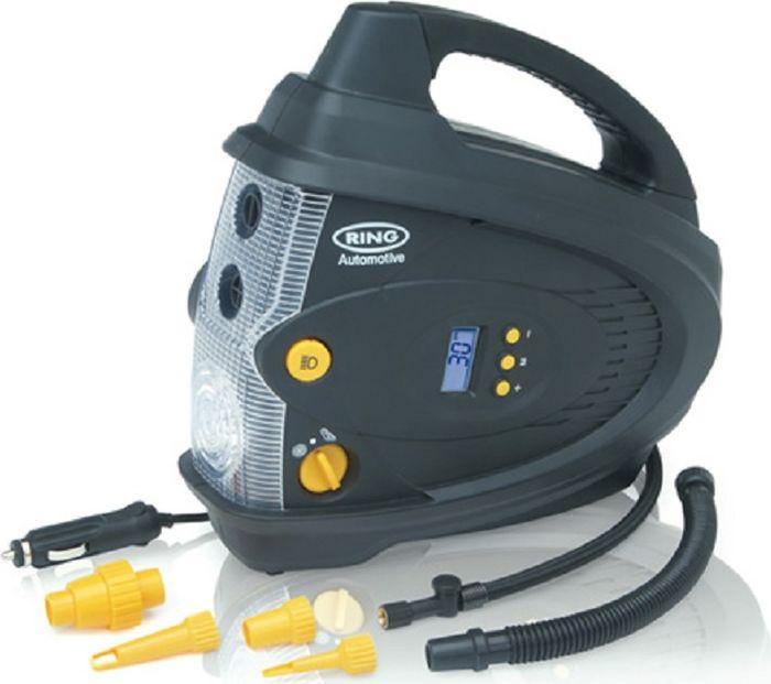 Компрессор автомобильный Ring Automotive RAC640, цифровой, с фонаремDW25Автоматический цифровой компрессор + насос для накачки/выпуска воздуха от английской компании Ring Automotive, со встроенным светодиодным фонарем. Производительность 28 -30 л/мин., работает от 12В разъема типа прикуриватель, максимальное потребление тока 10 А. Режим предварительного выбора давления и автоматическое отключение. Парный двигатель: Макс. давление (компрессора) 100 фунтов/кв. дюйм, Макс. давление (насоса) 0,3фунта/кв. дюйм. В комплекте удобный чехол для хранения и аксессуары для накачки мячей, шин велосипедов, матрасов и др. Единицы измерения манометра: фунт/кв. дюйм, кПа, бар.