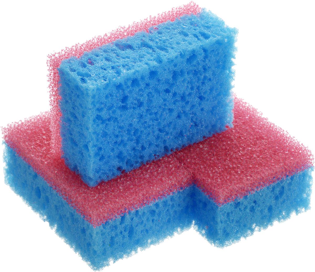 Губка для посуды La Chista Люкс, цвет: голубой, розовый, 9,5 х 6,5 х 4 см, 3 шт870147_голубой, розовыйГубка для посуды La Chista Люкс идеально справляется с любыми загрязнениями даже без моющего средства. Выполнена из мягкого поролона и абразивного материала.Особенности изделия: - изготовлены из экологически чистого сырья,- не содержат фреонов и метилгидрохлорида,- высокая плотность поролона экономит моющее средство,- особо прочные абразивные материалы.В комплект входят 3 губки.