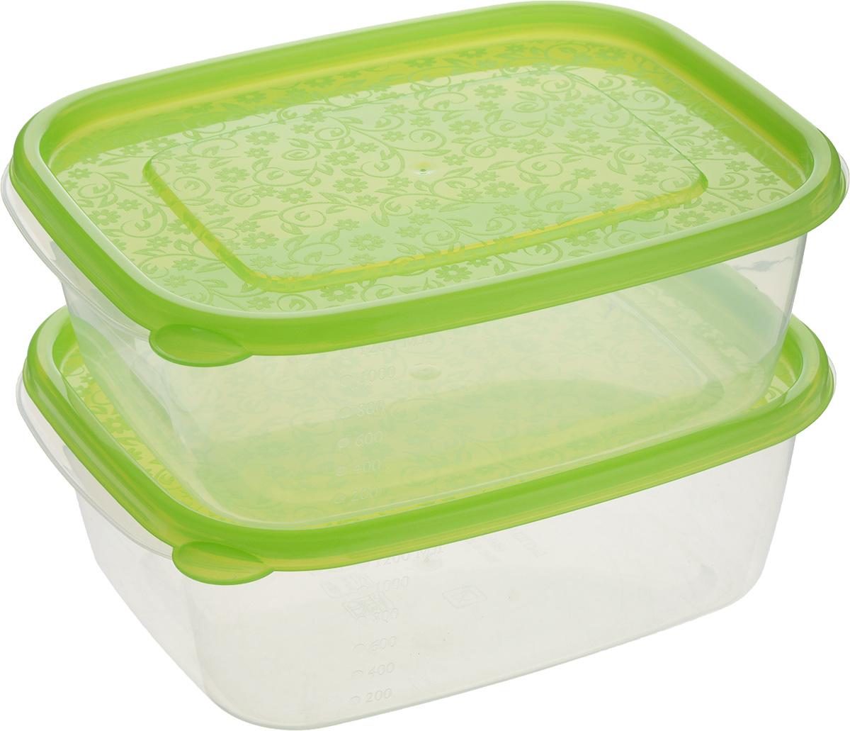 Контейнер пищевой Бытпласт Арт-Декор, цвет: салатовый, прозрачный, 1,25 л, 2 штС11543_салатовый, прозрачныйКонтейнер Бытпласт Арт-Декор предназначен для хранения пищевых продуктов. Он выполнениз высококачественного полипропилена. Крышка легко и плотно закрывается. Контейнер устойчив к воздействию масел и жиров, легко моется. Подходит для использования в микроволновых печах, выдерживает хранение в морозильной камере при температуре -24 градуса.Пищевой контейнер Бытпласт Арт-Декор необыкновенно удобен, ведь в нем можно брать еду на работу, за город, ребенку в школу. В комплект входят 2 контейнера.