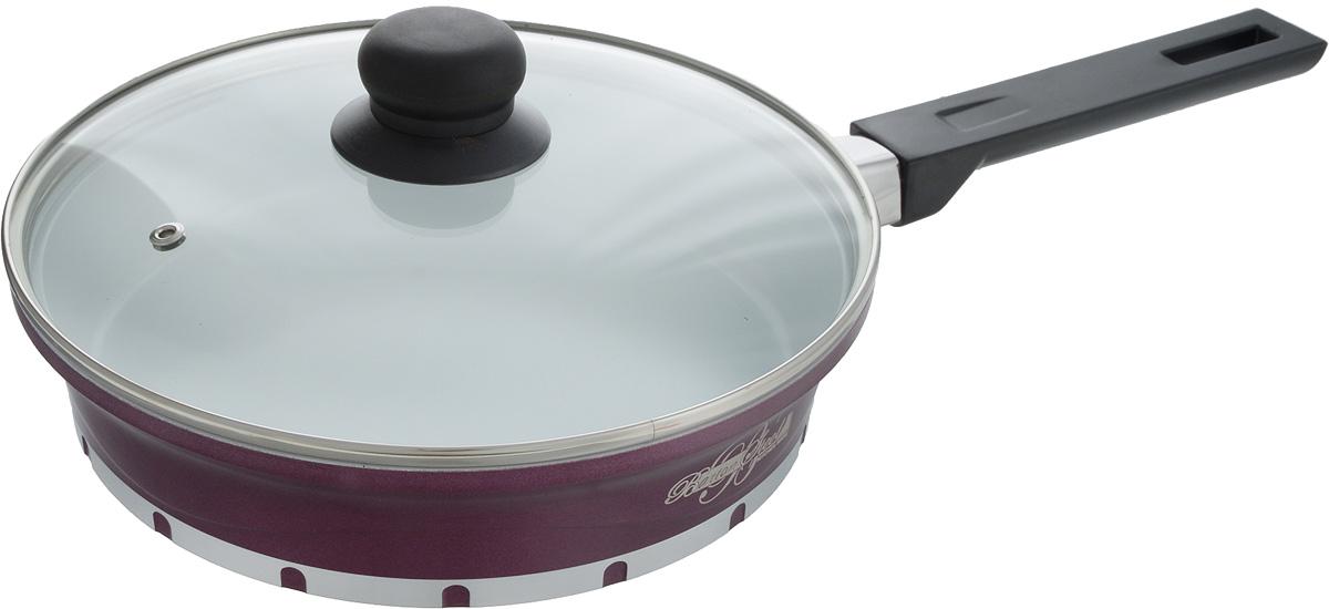 Сковорода BartonSteel с крышкой, с керамическим покрытием, цвет: фиолетовый, белый, черный. Диаметр 24 см. 7224BSNEW7224BS_фиолетовый, белый, черныйСковорода BartonSteel выполнена из алюминия с внутренним керамическим покрытием. Покрытие предотвращает пригорание пищи и обеспечивает безупречное приготовление блюд. Готовить можно как в малом количестве масла, так и без него. Покрытие абсолютно гладкое и легко моется. Внешнее покрытие жаропрочное. Сковорода снабжена жаростойкой стеклянной крышкой, которая позволяет контролировать процесс приготовления без потери тепла. Бакелитовая ручка удобна в применении. Сковорода подходит для газовой, электрической, галогеновой, индукционной плиты. Можно мыть в посудомоечной машине. Длина ручки: 19 см.Диаметр сковороды (по верхнему краю): 24 см.Высота стенки: 5,5 см.Диаметр дна: 19 см.