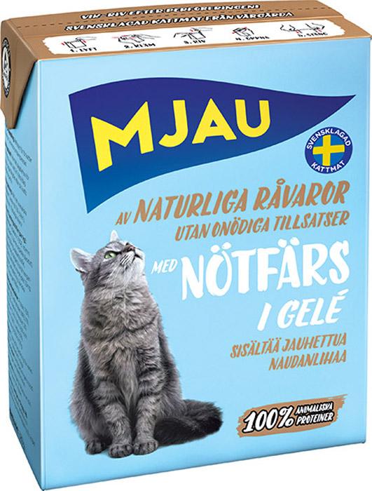Корм консервированный Mjau Мясные кусочки в желе, для кошек, с рубленой говядиной64416Полнорационное влажное питание премиум класса для кошек. Состав: мясо и мясопродукты* (в т.ч. говядина 5 % в каждом кусочке), минеральные вещества. *Натуральные ингредиенты. Добавки на кг: пищевые добавки: Витамин А 1700 МЕ, витамин D3 170 МЕ, витамин Е (рацемический ?-токоферола ацетат) 10 мг, таурин 500 мг, сульфат меди (II) пентагидрат 7 мг; оксид марганца (II)/оксид марганца (III) 2мг; сульфат цинка, моногидрат 33 мг, йодат кальция безводный 1 мг. Анализ: белок 7,5%, жир 5,5%, сырая клетчатка 0,2%, минеральные вещества (сырая зола) 2% (в т.ч. кальций 0,4%, фосфор 0,3%, магний 0,02%), влага 83%. Технические добавки: коричная смола 1180 мг. Энергетическая ценность: 300кДж/100 г. Дневной рацион для взрослой кошки весом 3-4 кг: 380г.