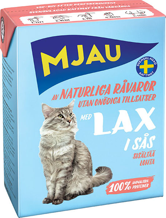 Корм консервированный Mjau Мясные кусочки в соусе, для кошек, с лососем64425Полнорационное влажное питание премиум класса для кошек. Состав: мясо и мясопродукты*, рыба и рыбные продукты* (в т.ч. лосось 4% в каждом кусочке), минеральные вещества.*Натуральные ингредиенты. Добавки на кг: пищевые добавки: Витамин А 1700 МЕ, витамин D3 170 МЕ, витамин Е (рацемический ?-токоферола ацетат) 10 мг, таурин 500 мг, сульфат меди (II) пентагидрат 7 мг; оксид марганца (II)/оксид марганца (III) 2мг; сульфат цинка, моногидрат 33 мг, йодат кальция безводный 1 мг. Анализ: белок 7,5%, жир 5,5%(омега-3 0,2%), сырая клетчатка 0,2%, минеральные вещества (сырая зола) 2% (в т.ч. кальций 0,4%, фосфор 0,3%, магний 0,02%), влага 83%.. Энергетическая ценность: 300кДж/100 г. Дневной рацион для взрослой кошки весом 3-4 кг: 370г.