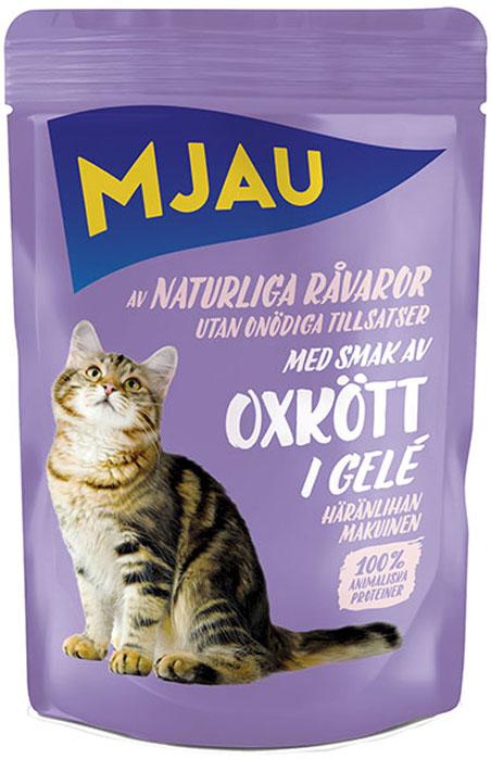 Корм консервированный Mjau Мясные кусочки в желе, для кошек, с говядиной65410Полнорационное влажное питание премиум класса для кошек. Состав: мясо и мясопродукты* (в т.ч. говядина 5%), минеральные вещества, инулин цикория (0,1%).*Натуральные ингредиенты. Добавки на кг: пищевые добавки: Витамин D3 250 МE, витамин Е (рацемический ?-токоферола ацетат) 15 мг, таурин 445 мг, сульфат меди (II) пентагидрат 4мг; марганца (II) сульфат, моногидрат 3,2 мг; сульфат цинка, моногидрат 43,3 мг. Анализ: Белок 8,5%, жир 4,5%, сырая клетчатка 0,5%, минеральные вещества (сырая зола) 2,5%, влага 82%. Энергетическая ценность: 292 кДж/100 г.Дневной рацион для взрослой кошки весом 4 кг: 250-300г.