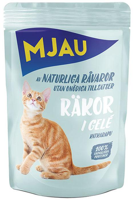 Корм консервированный Mjau Мясные кусочки в желе, для кошек, с креветками65412Полнорационное влажное питание премиум класса для кошек.Состав: мясо и мясопродукты*, моллюски и ракообразные* (в т.ч. креветки 5%), минеральные вещества, инулин цикория (0,1%). *Натуральные ингредиенты. Добавки на кг: пищевые добавки: Витамин D3 250 МE, витамин Е (рацемический ?-токоферола ацетат) 15 мг, таурин 445 мг, сульфат меди (II) пентагидрат 4мг; марганца (II) сульфат, моногидрат 3,2 мг; сульфат цинка, моногидрат 43,3 мг. Анализ: Белок 8,5%, жир 4,5%, сырая клетчатка 0,5%, минеральные вещества (сырая зола) 2,5%, влага 82%. Энергетическая ценность: 292 кДж/100 г. Дневной рацион для взрослой кошки весом 4 кг: 250-300г.