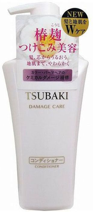 Shiseido Tsubaki Damage Care Кондиционер для поврежденных волос с маслом камели, 500 мл017Кондиционер с маслом камелии предназначен для тонких, сухих, тусклых и повреждённых волос. Кондиционер обогащён витаминами С и группы В, которые восстанавливают структуру волос и придают им силу и блеск. Компенсирует потерю естественной влаги, препятствует появлению секущихся кончиков, повышает прочность и эластичность. Кондиционер обладает антистатическим действием, предохраняет волосы, обеспечивает легкость при расчёсывании. Обладает мягким ароматом листьев камелии.