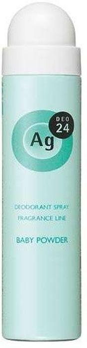 Shiseido Ag Deo24 Спрей дезодорант-антиперспирант с ионами серебра с лёгким цветочным ароматом детской присыпки, 40 г444069В составе дезодоранта содержится новейшее сочетание порошка и жидкости, которое позволяет ему плотно ложиться на кожу. Высыхает сразу же после нанесения, не оставляя ни малейшего ощущения липкости. Благодаря апатиту, содержащему ионы серебра, блокирует размножение бактерий, исключая появление неприятного запаха пота. Создает эффект «впитывающей ткани», благодаря содержанию в составе дезодоранта квасцов, абсорбирующих пот. Дезодорант блокирует потоотделение, делает кожу подмышек сухой, мягкой и гладкой, не оставляет белых следов. Обеспечивает ощущение свежести и комфорта в течение всего дня. Обладает приятным и лёгким цветочным ароматом детской присыпки.