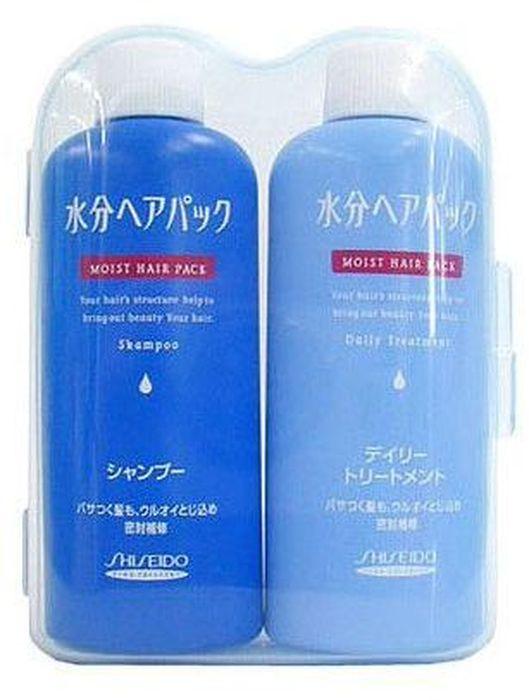 Shiseido Moist Hair Pack Дорожный мини-набор (шампунь и бальзам-кондиционер для поврежденных волос с цветочным ароматом), 50 мл, 2 шт857210Идеальные средства для увлажнения и восстановления волос при помощи герметизации важнейших компонентов волос. Шампунь и кондиционер действуют как при внутренних повреждениях ткани волоса, так и в случае повреждения кутикулы. Обильное увлажнение, после которого Ваши волосы выглядят завораживающе блистательно! Они защищены от потери влаги, устранена запутанность волос, они легко расчёсываются, а чистый цветочный аромат устраняет неприятные запахи.