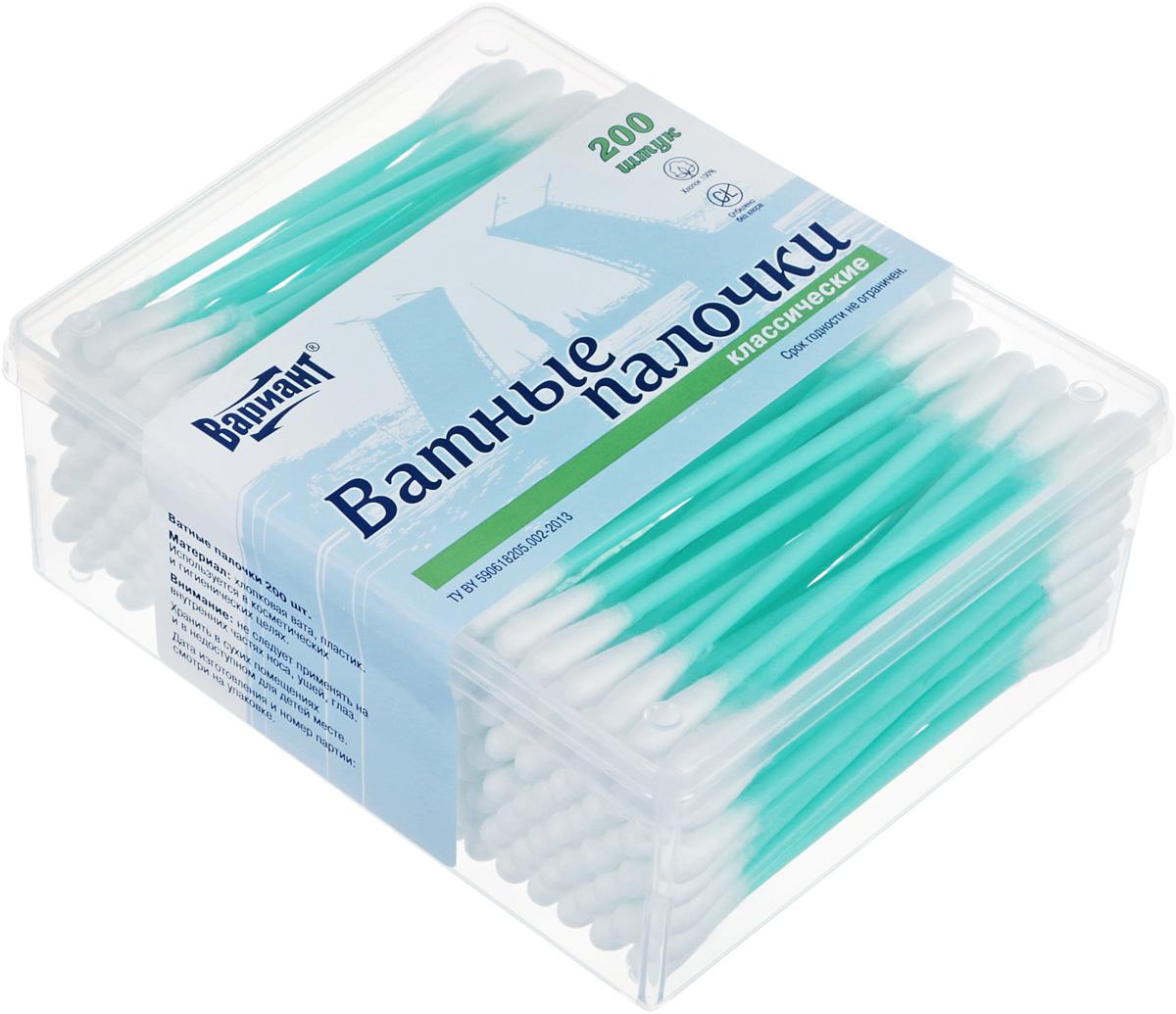 Вариант Ватные палочки, классические в пластиковой упаковке, 200 шт09531Ватные палочки Вариант способны удалить загрязнения и излишнюю влагу в труднодоступных местах. С их помощью удобно наносить и смывать косметику: подкорректировать и подправить макияж, убрать излишки туши и т. д. Они незаменимы при маникюре. Ими удобно обрабатывать маленькие детские ушки, особенно при попадании воды. Ватные палочки выполнены из 100% хлопка, который превосходно впитывает влагу. Практичные ватные палочки в удобной упаковке будут незаменимы для всей семьи.Уважаемые клиенты!Обращаем ваше внимание на возможные изменения в дизайне упаковки. Качественные характеристики товара остаются неизменными. Поставка осуществляется в зависимости от наличия на складе.