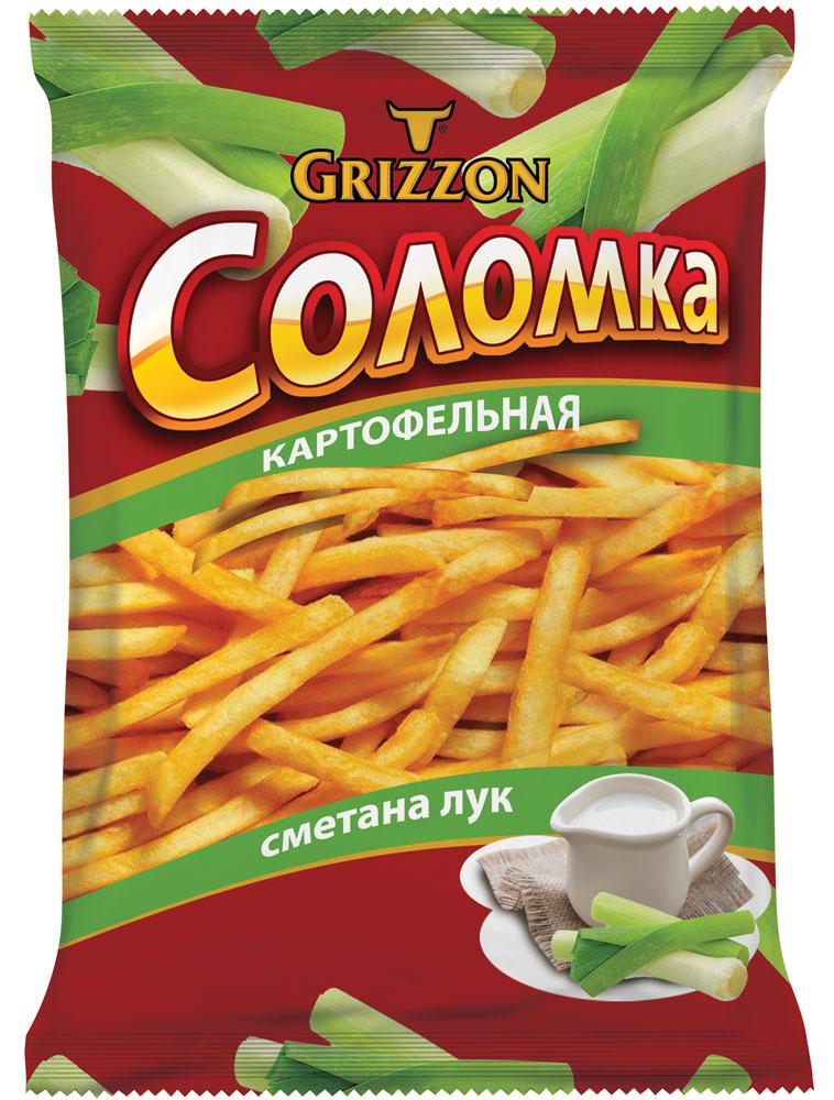 Grizzon соломка картофельная со вкусом сметаны и лука, 80 г00000040489Ароматы зелени, сочных томатов, сыра и деревенской сметаны делают вкус соломки GRIZZON выдающимся. Не секрет, что наш продукт – первая соломка российского производства, приготовленная из цельного картофеля