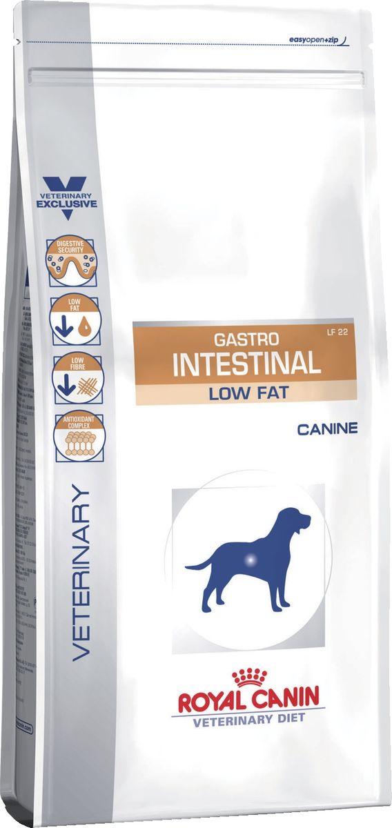 Корм сухой Royal Canin Vet Gastro Intestinal Low Fat LF22, с ограниченным содержанием жиров, для собак при нарушении пищеварения, 12 кг38668ИНГРЕДИЕНТЫ:рис, дегидратированные белки животного происхождения (птица), пшеница, ячмень, гидролизат белков животного происхождения, свекольный жом, дрожжи, животные жиры, минеральные вещества, фруктоолигосахариды, оболочка и семена подорожника, рыбий жир, гидролизат дрожжей (источник мaннановых олигосахаридов), экстракт бархатцев прямостоячих (источник лютеина).ДОБАВКИ (В 1 КГ):Питательные добавки: Витамин A: 11700 ME, Витамин D3: 1000 ME, Железо: 43 мг, Йод: 3,4 мг, Марганец: 57 мг, Цинк: 186 мг, Ceлeн: 0,08 мг - Консервант: сорбат калия - Антиокислители: пропилгаллат, БГА.СОДЕРЖАНИЕ ПИТАТЕЛЬНЫХ ВЕЩЕСТВ:Белки: 22 % - Жиры: 7 % - Минеральные вещества: 6,6 % - Клетчатка пищевая: 1,7 % - В 1 кг: Основные жирные кислоты: 14 г - Жирные кислоты Омега 3: 2,5 г - Медь: 15 мг.