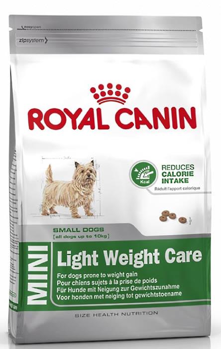 Корм сухой Royal Canin Mini Light weight care, для взрослых собак склонных к ожирению, 800 г43798КОРМ ДЛЯ СОБАК, СКЛОННЫХ К ИЗБЫТОЧНОМУ ВЕСУДля собак мелких размеров (вес взрослой собаки до 10 кг), склонных к избыточному весу, в возрасте с 10 месяцев.ДЕЙСТВЕННАЯ ПОМОЩЬ В БОРЬБЕ С ЖИРОВЫМИ ОТЛОЖЕНИЯМИИзбыточный вес может повлиять на общее состояние здоровья собаки. Точно сбалансированная диетическая формула помогает достичь оптимального веса и сохранять этот результат. Высокое содержание белка* (30%) позволяет поддерживать мышечную массу, а низкое содержание жиров* (11%) препятствует увеличению веса. Калорийность продукта снижена на 15%*. В состав входит L-карнитин.*По сравнению с поддерживающими рационамиУдовлетворение аппетитаБлагодаря специальному сочетанию разных видов клетчатки продукт обеспечивает чувство насыщения.Здоровье зубовПомогает ограничить образование зубного камня благодаря хелаторам кальция, содержащегося в слюне. ИНГРЕДИЕНТЫДегидратированное мясо птицы, кукуруза, ячмень, рис, кукурузная клейковина, изолят растительных белков*, растительная клетчатка, животные жиры, гидролизат белков животного происхождения, свекольный жом, порошок целлюлозы, минеральные вещества, рыбий жир, дрожжи, соевое масло, фруктоолигосахариды, оболочка и семена подорожника, масло огуречника аптечного. *L.I.P.: белки, отобранные по принципу максимальной усвояемости.