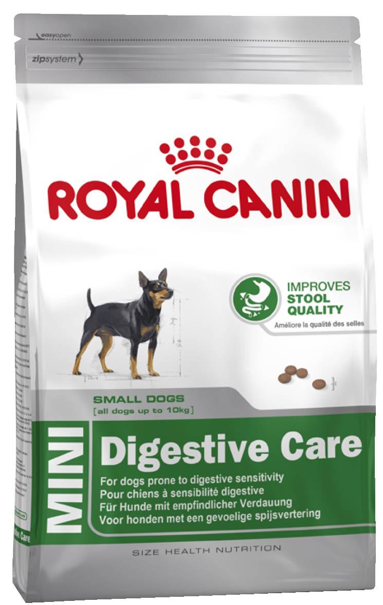 Корм сухой Royal Canin Mini Digestive Care, для собак с чувствительным пищеварением, 800 г61180СУХОЙ КОРМ ДЛЯ СОБАК С ЧУВСТВИТЕЛЬНЫМ ПИЩЕВАРЕНИЕМПолнорационный сухой корм для собак мелких размеров (вес взрослой собаки до 10 кг) старше 10 месяцев с чувствительным пищеварениемБЕЗОПАСНОСТЬ ПИЩЕВАРЕНИЯЧувствительность пищеварения может привести к появлению влажного и мягкого стула с интенсивным запахом. Точно сбалансированная диетическая формула оказывает благоприятное воздействие на пищеварительную систему. Продукт содержит белки высокой усвояемости (L.I.P.), смесь пребиотиков (ФОС) и клетчатки для поддержания баланса кишечной флоры и формирования фекалий оптимальной консистенции.Высокая вкусовая привлекательностьБлагодаря формуле с уникальным вкусовым добавками продукт способен удовлетворить даже самый привередливый аппетит.Здоровье зубовПомогает ограничить образование зубного камня благодаря хелаторам кальция, содержащегося в слюне. ИНГРЕДИЕНТЫДегидратированное мясо птицы, рис, животные жиры, изолят растительных белков*, пшеничная мука, пшеница, гидролизат белков животного происхождения, ячмень, кукурузная клейковина, свекольный жом, дрожжи, рыбий жир, растительная клетчатка, соевое масло, минеральные вещества, фруктоолигосахариды (0,34%). *L.I.P.: белки, отобранные по принципу максимальной усвояемости.