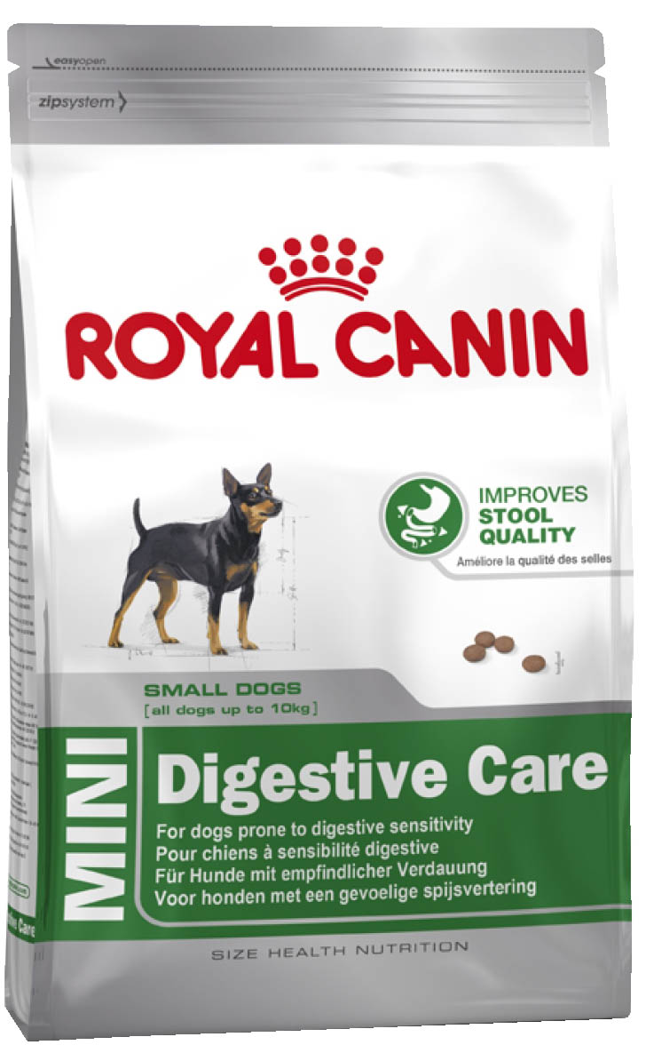 Корм сухой Royal Canin Mini Digestive Care, для собак с чувствительным пищеварением, 4 кг61347СУХОЙ КОРМ ДЛЯ СОБАК С ЧУВСТВИТЕЛЬНЫМ ПИЩЕВАРЕНИЕМПолнорационный сухой корм для собак мелких размеров (вес взрослой собаки до 10 кг) старше 10 месяцев с чувствительным пищеварениемБЕЗОПАСНОСТЬ ПИЩЕВАРЕНИЯЧувствительность пищеварения может привести к появлению влажного и мягкого стула с интенсивным запахом. Точно сбалансированная диетическая формула оказывает благоприятное воздействие на пищеварительную систему. Продукт содержит белки высокой усвояемости (L.I.P.), смесь пребиотиков (ФОС) и клетчатки для поддержания баланса кишечной флоры и формирования фекалий оптимальной консистенции.Высокая вкусовая привлекательностьБлагодаря формуле с уникальным вкусовым добавками продукт способен удовлетворить даже самый привередливый аппетит.Здоровье зубовПомогает ограничить образование зубного камня благодаря хелаторам кальция, содержащегося в слюне. ИНГРЕДИЕНТЫДегидратированное мясо птицы, рис, животные жиры, изолят растительных белков*, пшеничная мука, пшеница, гидролизат белков животного происхождения, ячмень, кукурузная клейковина, свекольный жом, дрожжи, рыбий жир, растительная клетчатка, соевое масло, минеральные вещества, фруктоолигосахариды (0,34%). *L.I.P.: белки, отобранные по принципу максимальной усвояемости.