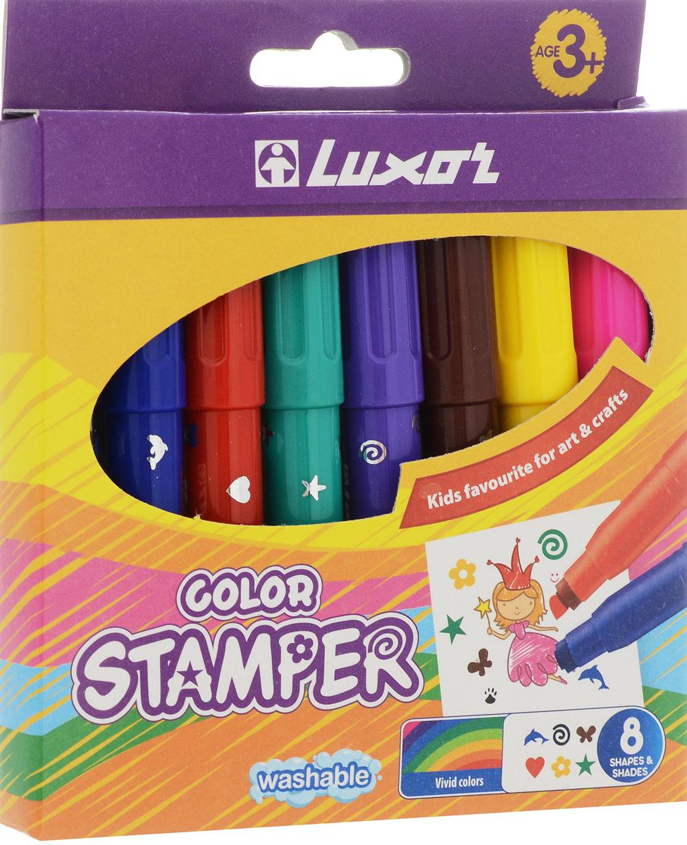 Luxor Набор фломастеров-штампов Color Stamper 8 цветов6130/Box 8Цветные фломастеры с наконечником в форме штампика. Каждому цвету соответствует свой рисунок.Диаметр штампа: 6 мм.