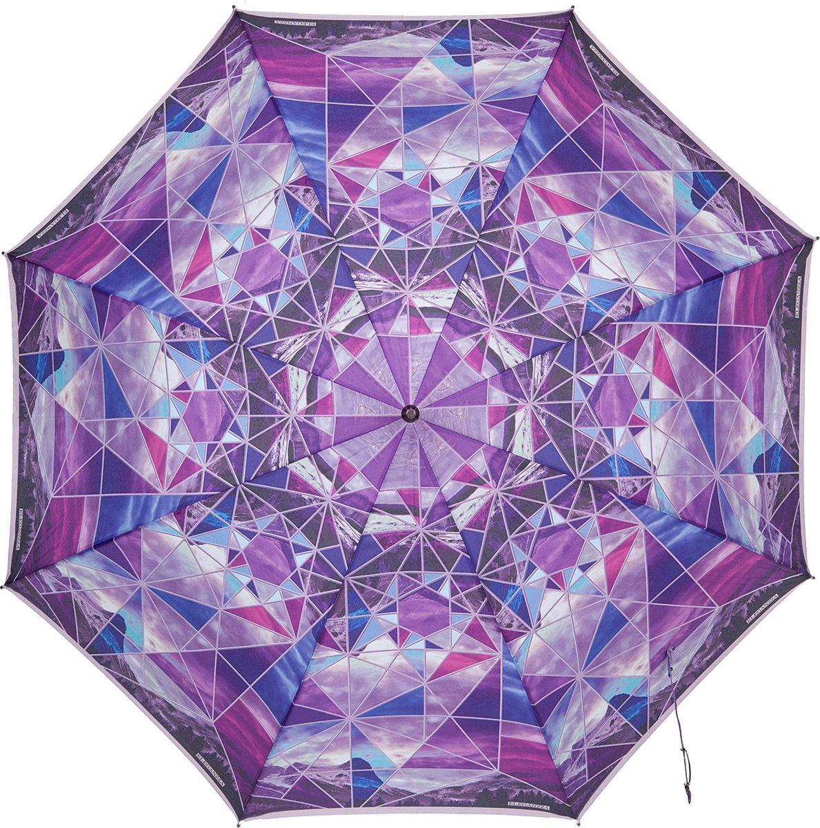 Зонт-трость женский Eleganzza, цвет: фиолетовый. T-06-0316Колье (короткие одноярусные бусы)Женский зонт-трость торговой марки ELEGANZZA. Материал купола 100% полиэстер, эпонж. Материал каркаса: сталь + фибергласс. Материал ручки: акрил. Длина изделия - 89 см. Диаметр купола - 105 см.