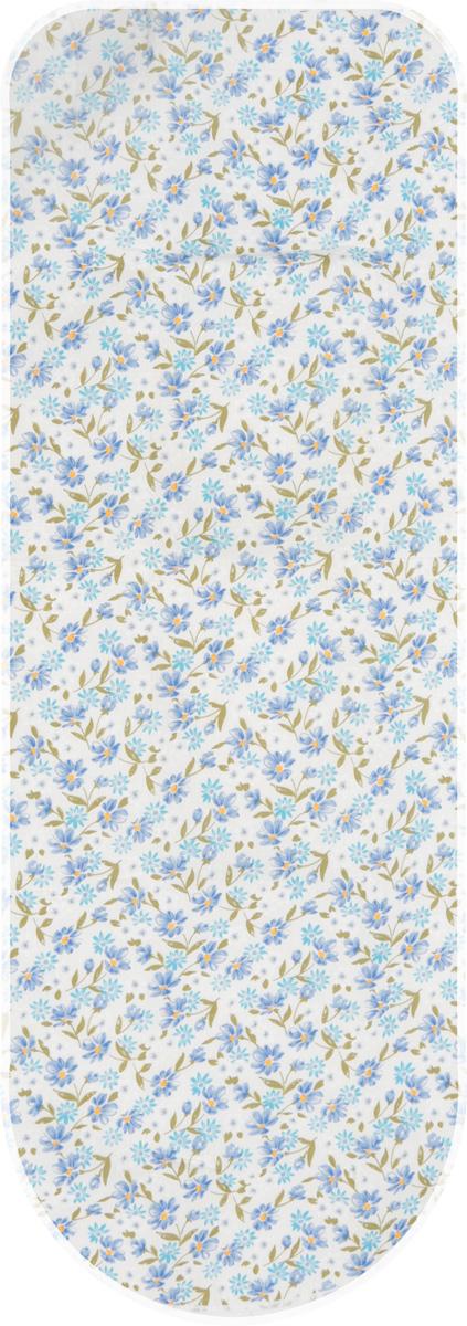 Чехол для гладильной доски Paterra Цветы, с поролоном, цвет: белый, синий, 146 х 55 смIR-F1-WЧехол Paterra Цветы, выполненный из высококачественного 100% хлопка, продлит срок службы вашей гладильной доски. Изделие снабжено подкладкой из поролона и стягивающим шнуром, при помощи которого вы легко отрегулируете оптимальное натяжение. Чехол оформлен красивым рисунком, что оживит внешний вид вашей гладильной доски. Размер чехла: 146 х 55 см. Максимальный размер доски: 140 х 50 см.