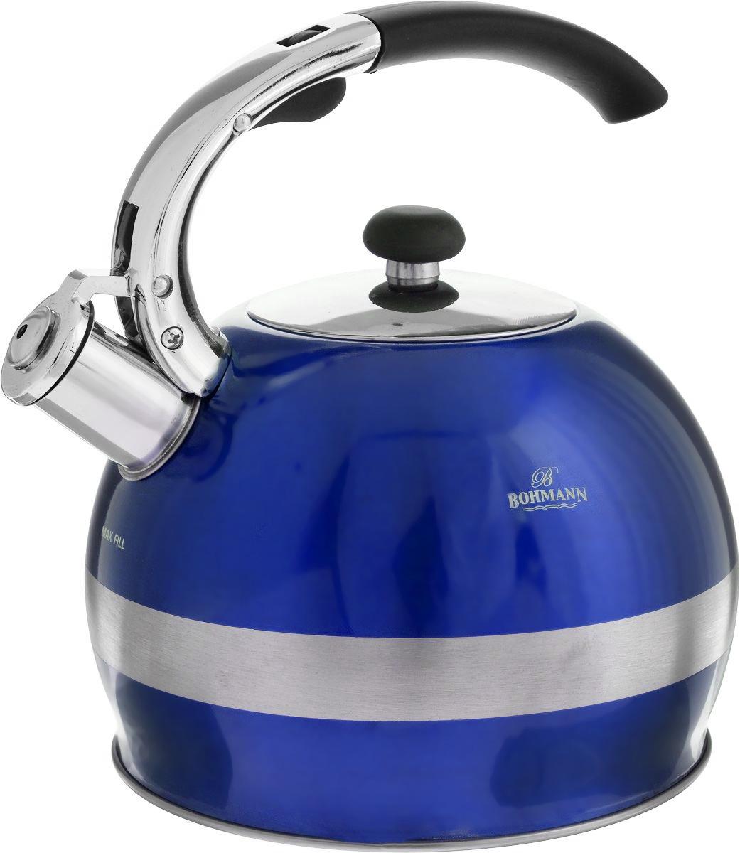 Чайник Bohmann, со свистком, цвет: синий, 2,7 лBH-9995_синийЧайник Bohmann изготовлен из нержавеющей стали с матовой и зеркальной полировкой. Высококачественная сталь представляет собой материал, из которого в течение нескольких десятилетий во всем мире производятся столовые приборы, кухонные инструменты и различные аксессуары. Этот материал обладает высокой стойкостью к коррозии и кислотам. Прочность, долговечность и надежность этого материала, а также первоклассная обработка обеспечивают практически неограниченный запас прочности и неизменно привлекательный внешний вид. Чайник оснащен фиксированной удобной ручкой из бакелита черного цвета. Ручка не нагревается, что предотвращает появление ожогов и обеспечивает безопасность использования. Носик чайника имеет откидной свисток для определения кипения. Можно использовать на всех типах плит, включая индукционные. Можно мыть в посудомоечной машине. Диаметр (по верхнему краю): 9,5 см.Высота чайника (без учета ручки): 14,5 см.Высота чайника (с учетом ручки): 23 см.Диаметр основания: 13 см.