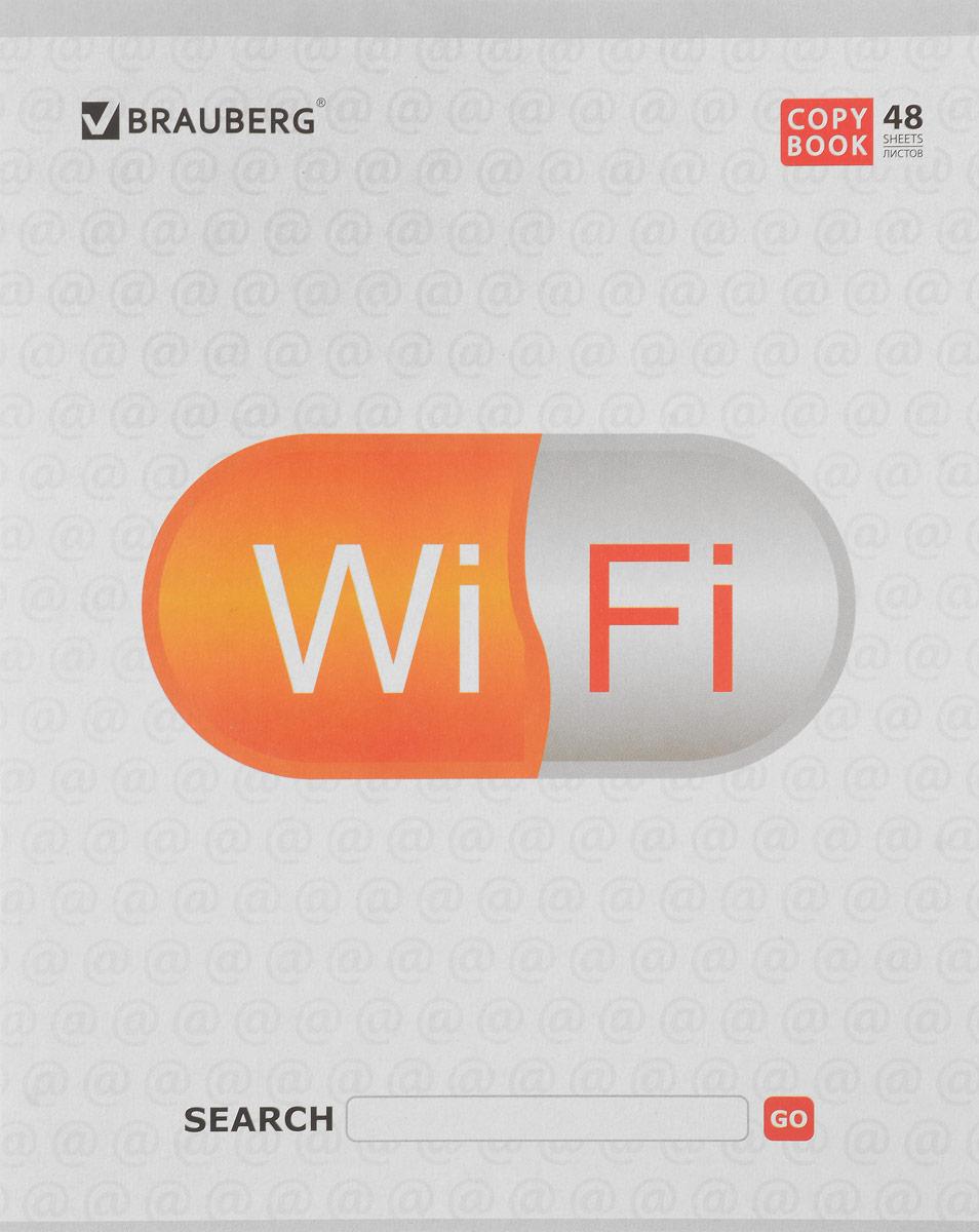 Brauberg Тетрадь В сети Wi Fi 48 листов в линейку цвет белый401898_Wi-Fi/белыйОбложка тетради Brauberg В сети. Wi Fi  выполнена из плотного мелованного картона, что позволит сохранить ее в аккуратном состоянии на протяжении всего времени использования.Внутренний блок тетради, соединенный двумя металлическими скрепками, состоит из 48 листов белой бумаги. Стандартная линовка в линейку голубого цвета дополнена полями.