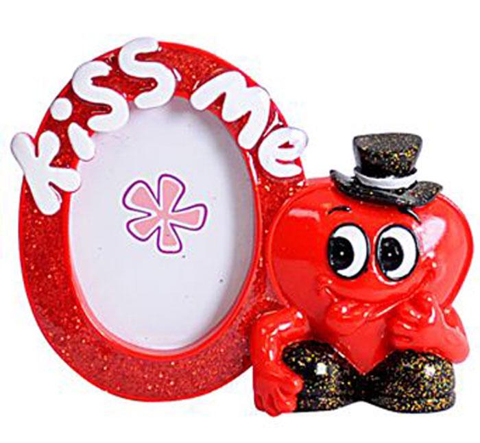 Декоративная фоторамка Home Queen Думай обо мне всегда!, цвет: красный, черный, белый, 4,5 х 4,5 смES-412Декоративная фоторамка Home Queen Думай обо мне всегда!, цвет: красный, черный, белый, 4,5 х 4,5 см
