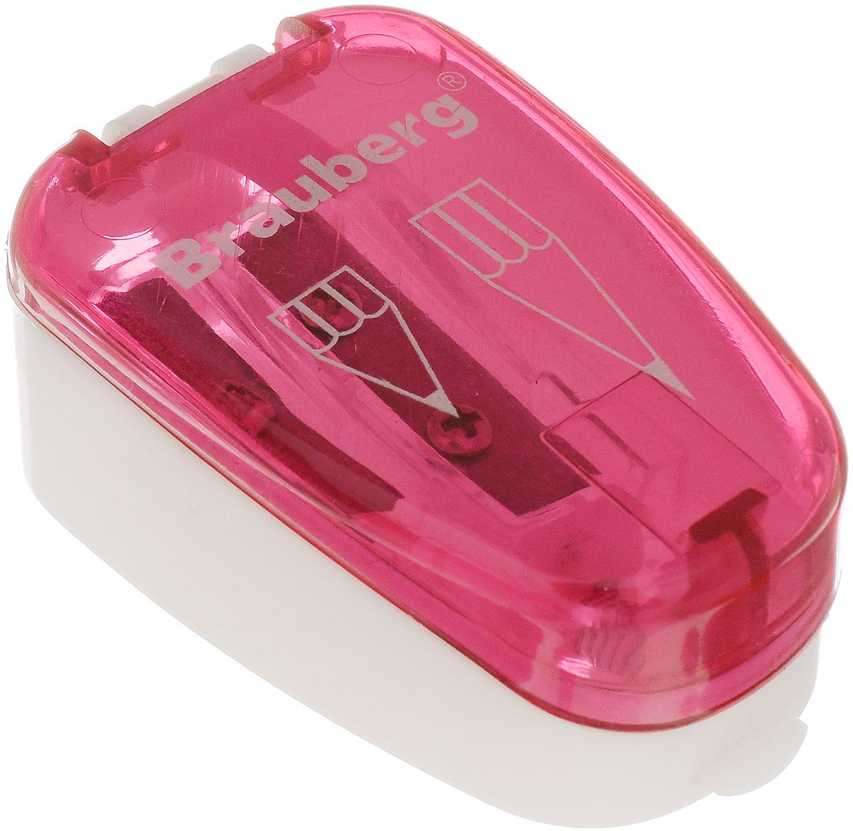 Brauberg Точилка двойная Jax с контейнером цвет розовый222496_розовыйТочилка двойная Brauberg Jax с контейнером для разного вида заточки: острая и круглая. Качественное стальное лезвие обеспечивает легкое равномерное затачивание. Контейнер для стружки изготовлен из тонированного цветного пластика.