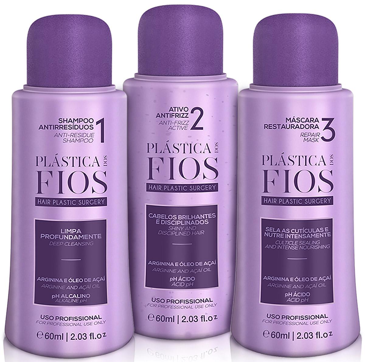 Plastica dos Fios Набор средств для кератинового выпрямления волос Kit ProfessionalCHPCHP.SHMP.Идеальный состав для тонких и поврежденных волос европейского типа. Восстанавливает структуру волос, восполняет кутикульный слой с помощью активных ингредиентов, делает волосы идеально прямыми, гладкими, блестящими и плотными на срок до 6 месяцев! В основе состава - уникальная ягода асаи, которая является сильнейшим антиоксидантом, а так же натуральные природные компоненты, способствующие максимальному восстановлению и реконструкции волос.