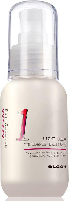 Elgon Affixx Флюид для гладкости и блеска Light Drops, 65 мл1509010075Нежная, легкая сыворотка обволакивает поверхность волос, запаивает секущиеся кончики и придает определенную текстуру длинным волосам. Делает поверхность волос более гладкой, блестящей. Без фиксации. Усиливает упругость и эластичность волос. Снимает статическое электричество. Обладает увлажняющим и термозащитным эффектами. Блокирует действие свободных радикалов, предупреждает быструю изнашиваемость волос по длине.