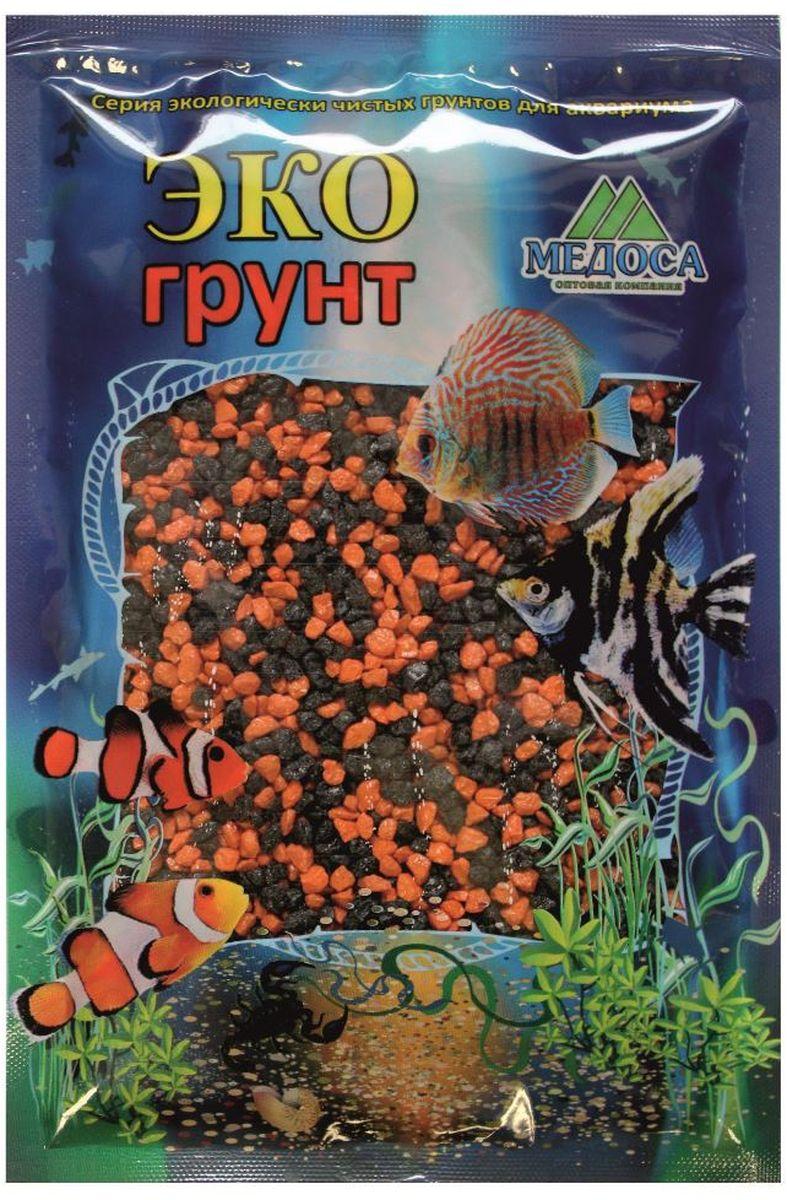 Грунт для аквариума ЭКОгрунт, мраморная крошка, цвет: черный, оранжевый, 2-5 мм, 1 кг500037