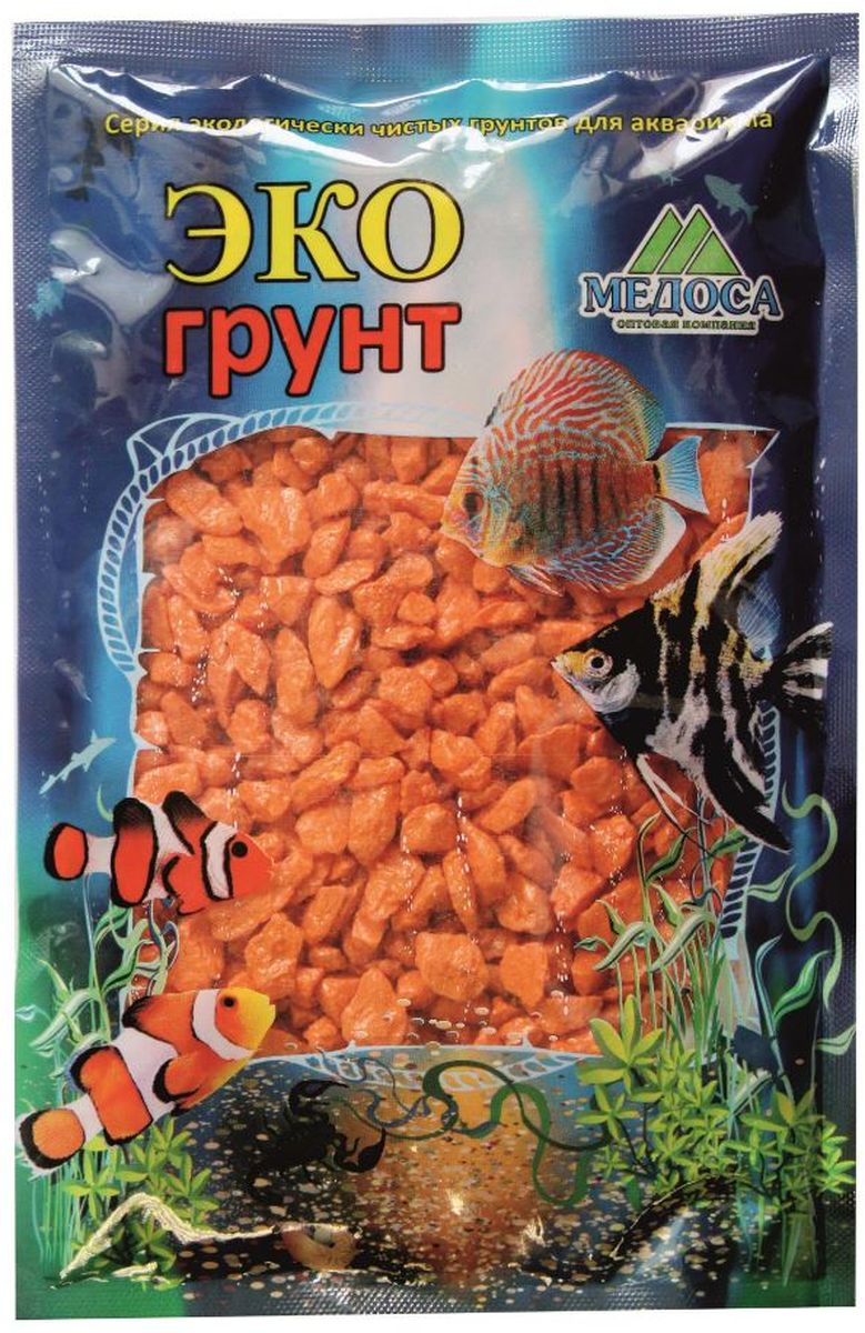 Грунт для аквариума ЭКОгрунт, мраморная крошка, цвет: оранжевый, 5-10 мм, 1 кг540018