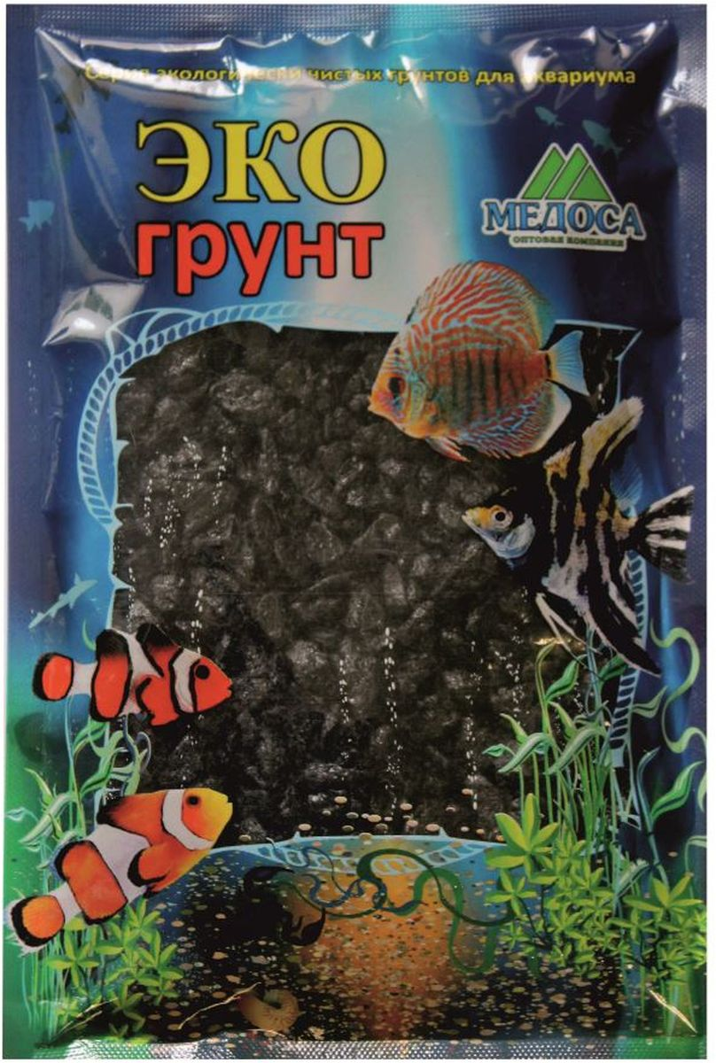 Грунт для аквариума ЭКОгрунт, мраморная крошка, цвет: черный, 5-10 мм, 3,5 кгг-0175