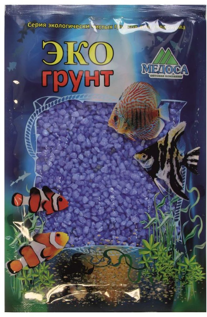 Грунт для аквариума ЭКОгрунт, мраморная крошка, цвет: синий, 2-5 мм, 3,5 кгг-1007