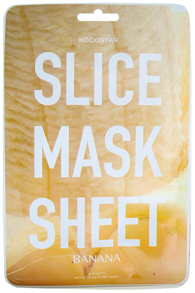 Kocostar Маска-слайс для лица Банан, 20 мл20-0015Оригинальная слайс-маска для лица в виде сочных мини-ломтиков Банана оказывает видимый лифтинг-эффект, увлажняет и смягчает сухую кожу, придавая ей упругость и замедляя процесс старения. Протеины Овса защищают кожу от внешних воздействий, сохраняя молодость и сияние. Маска подходит для всех типов кожи. Слайсы в форме патчей можно использовать в области вокруг глаз.