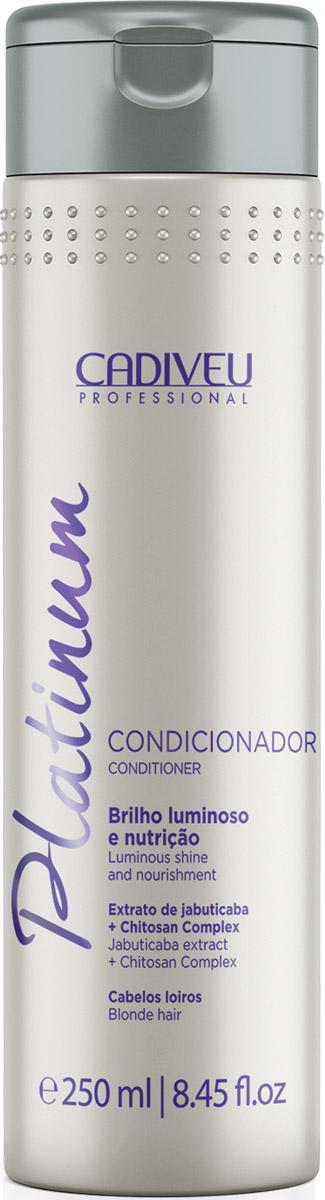 Cadiveu Кондиционер-домашний уход Platinum 250 мл12427Для ежедневного ухода используйте кондиционер Platinum Condicionador. Глубоко увлажняет и выравнивает кутикулу волос, продлевает результат процедуры и создает эффект глянцевых волос.