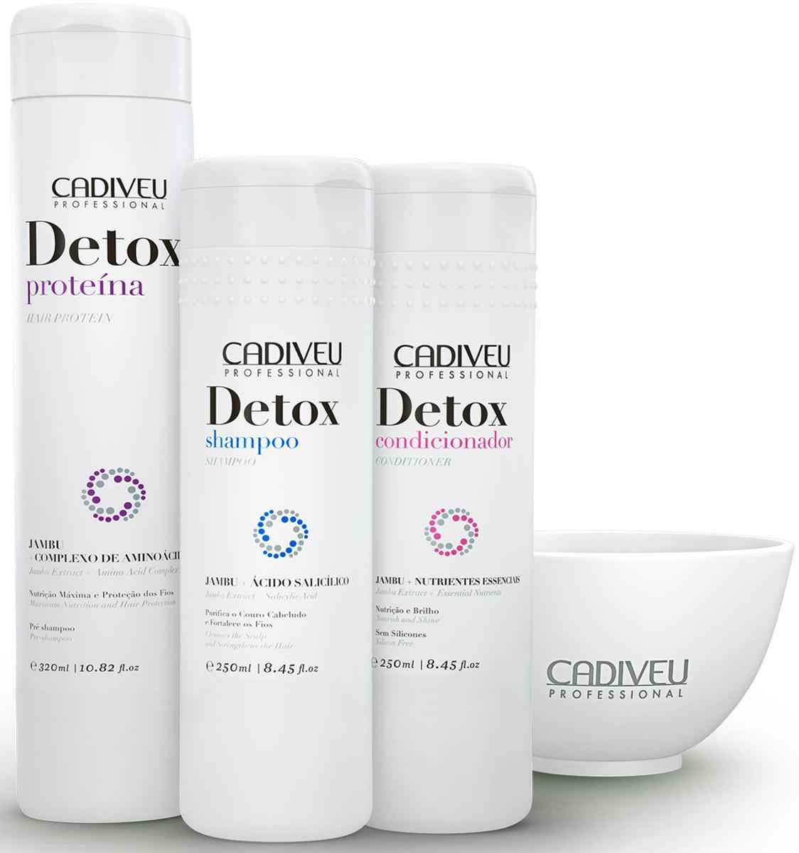 Cadiveu Набор для волос Detox Kit Home Care (3 products + small bowl)12413Процедура Detox Cadiveu способна вдохнуть новую жизнь в уставшие, потерявшие блеск волосы. Это идеальное средство для воскрешения очень поврежденных волос, которым необходимо восстановление и интенсивное увлажнение. После курса процедур Detox Сadiveu ваши волосы как будто наполняются энергией изнутри!