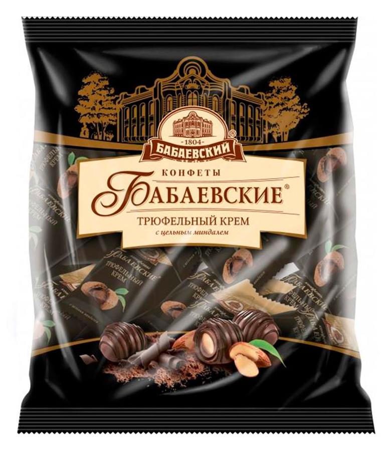 Бабаевские Трюфельный крем конфеты со вкусом трюфеля и целым миндалем в шоколадной глазури, 200 г озерский сувенир вишня владимировна в шоколадной глазури конфеты 200 г
