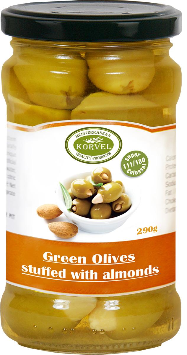 Korvel натуральные зеленые оливки фаршированные миндалем колоссал, 290 г103211000387Эти оливки собраны нами вручную и затем, в соответствии с греческими традиционными методами, вымочены в морской соли и фаршированы белым цельным миндалем. Богатый вкус зеленых оливок идеально подходит для закуски.