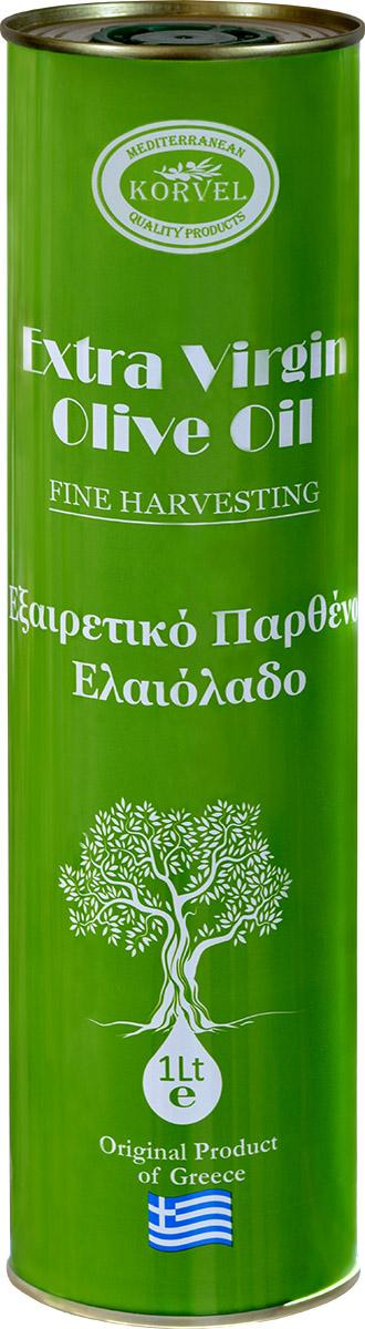 """Оливковое масло Korvel Экстра Вирджин - это продукт из оливок сорта """"Коронейки"""".Оливковое масло выжимается на мельницах в первый же день сбора при низкой температуре в соответствии с требованиями HACCP (ХАССП) с использованием передовых технологий производства.После производства мы получаем продукт исключительного качества, с выраженным мягким фруктовым ароматом и вкусом, с оттенками свежих трав, а также всеми достоинствами масла из оливок сорта """"Коронейки"""", которые признаны лучшими в мире, объединяющими в себе: вкус, питательность и полезность."""
