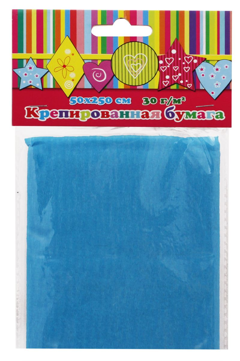 Феникс+ Бумага крепированная цвет голубой 50 х 250 см36438Бумага эластичная крепированная.Цвет: голубой.1 лист, 1 цвет.Размер: 500х2500 мм.Плотность 30г/м2.